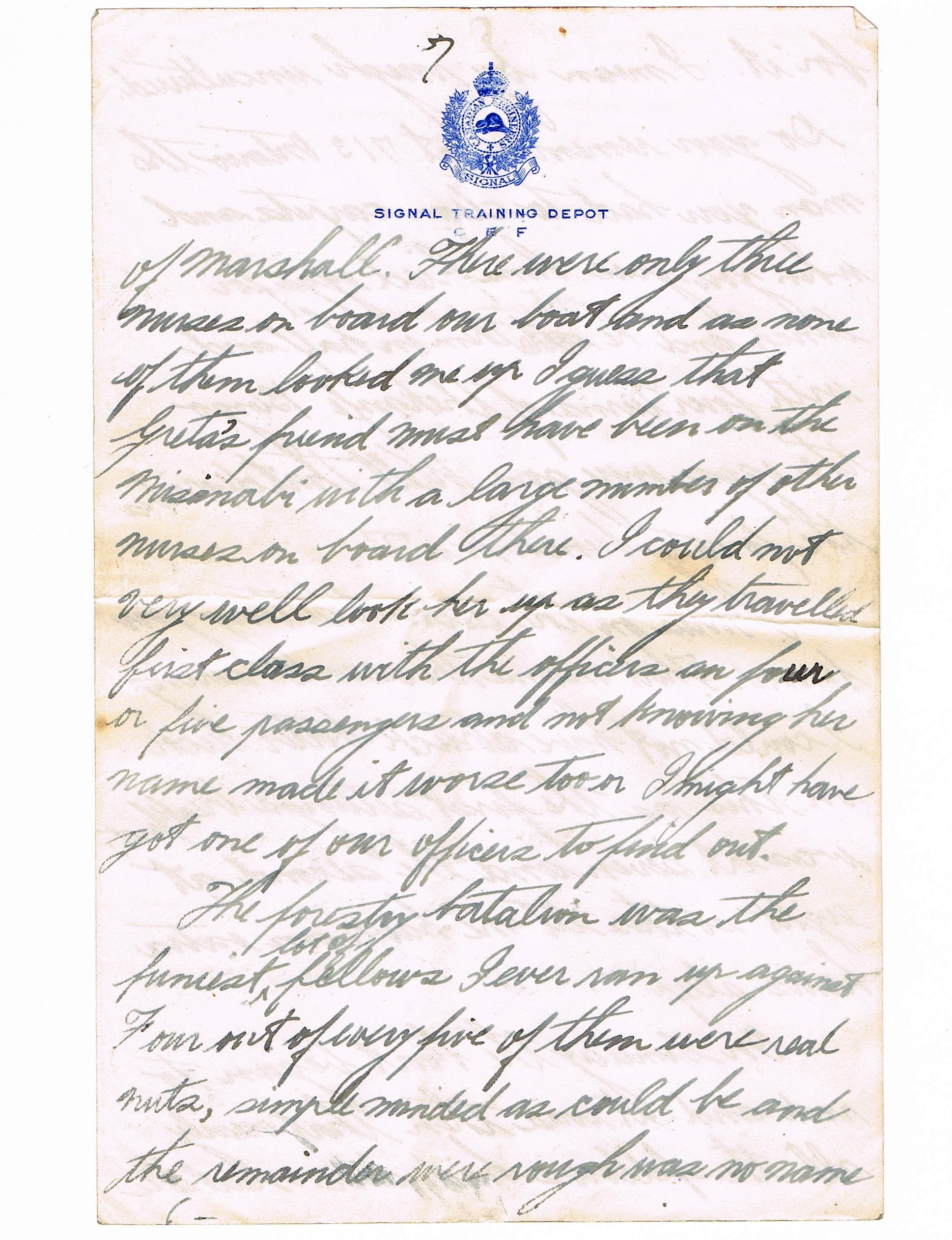 Seventh page of handwritten letter