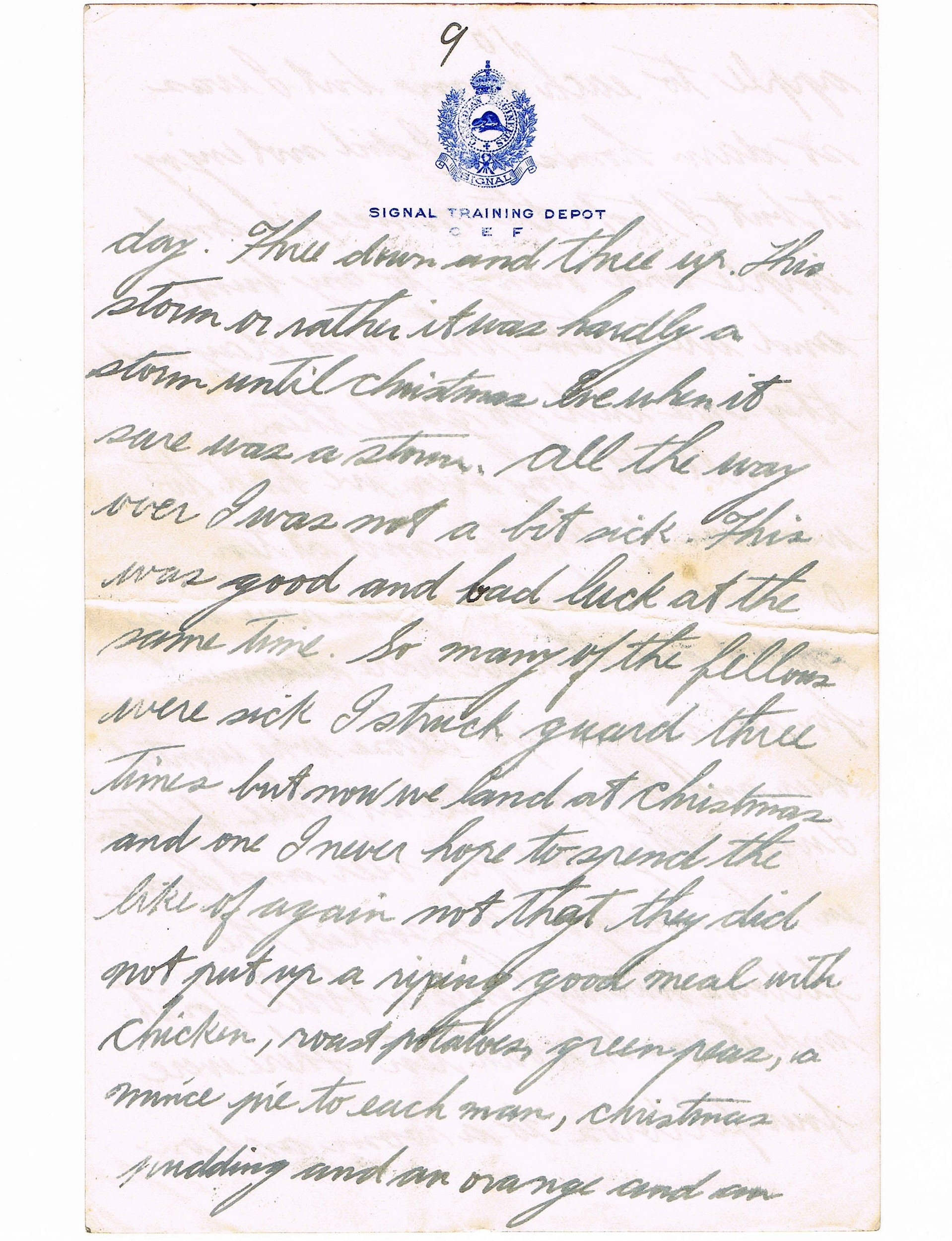 Ninth page of handwritten letter