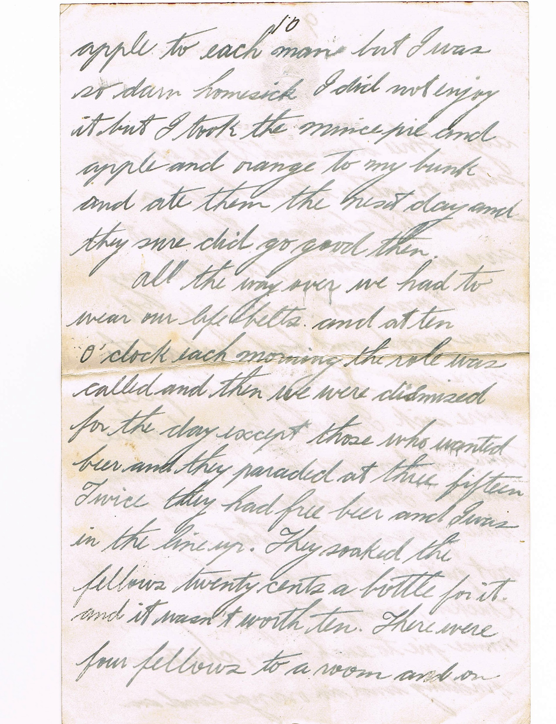 Tenth page of handwritten letter