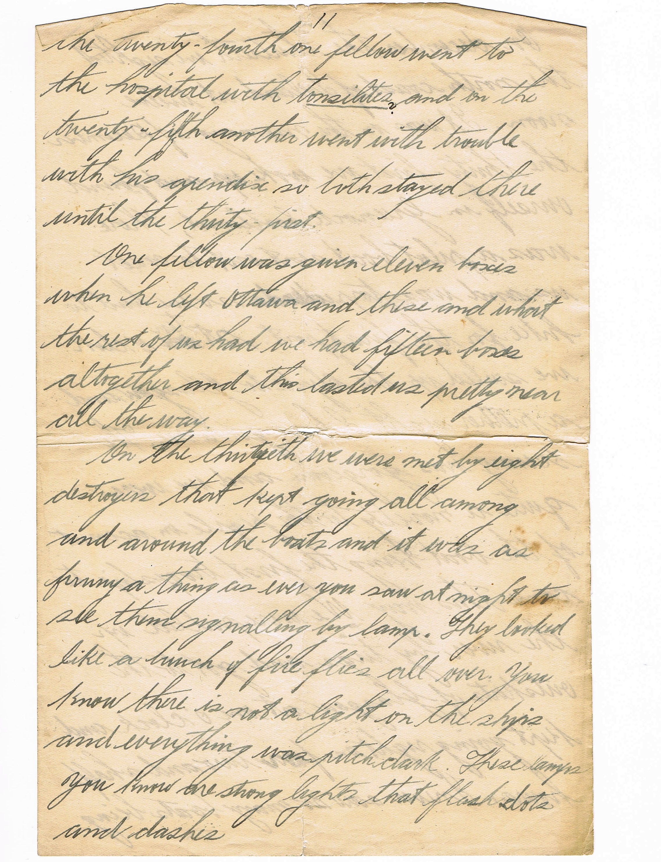 Eleventh page of handwritten letter