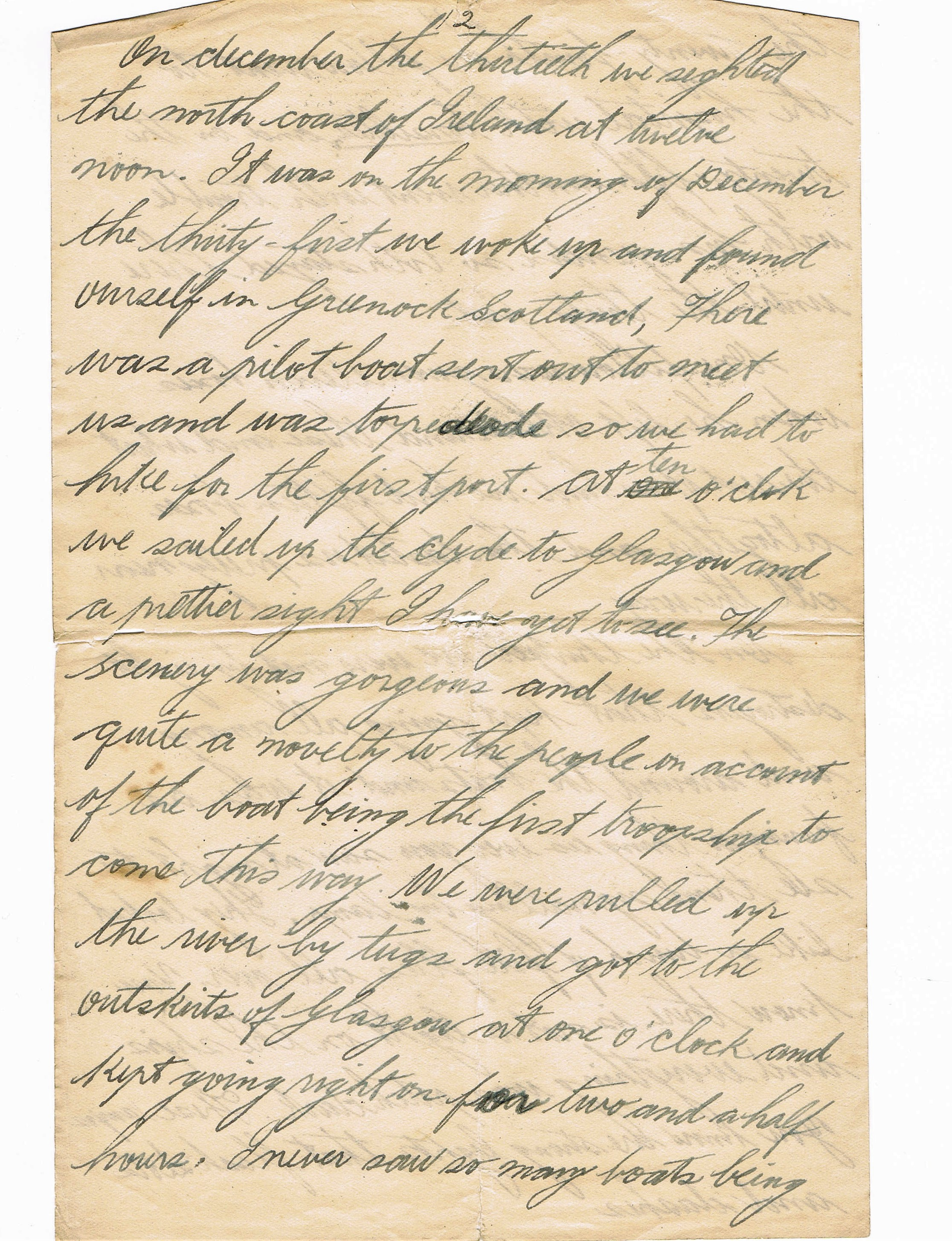12th page of handwritten letter