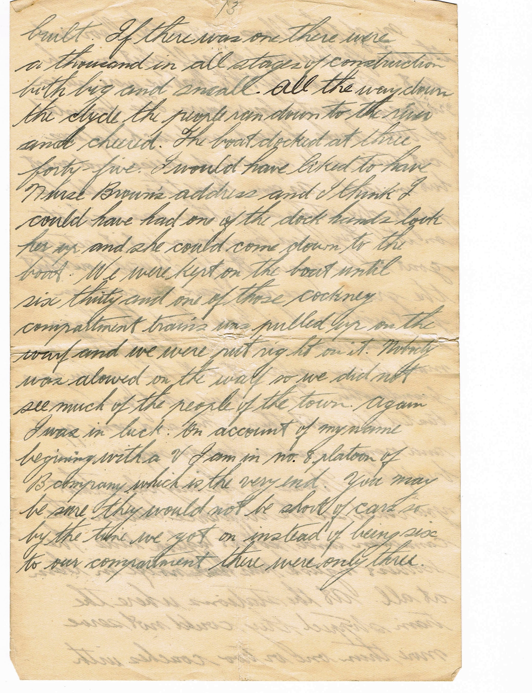 13th page of handwritten letter