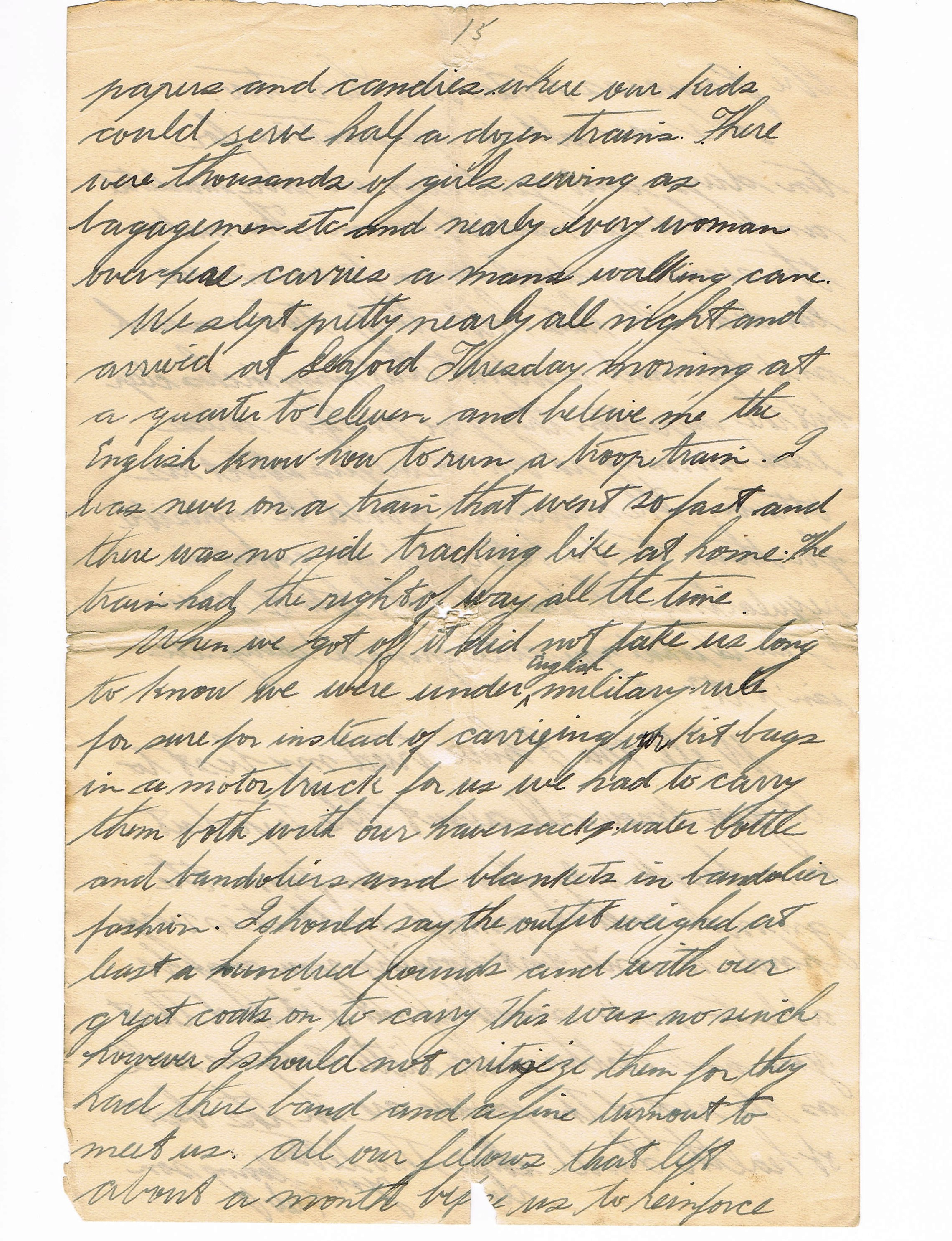 15th page of handwritten letter