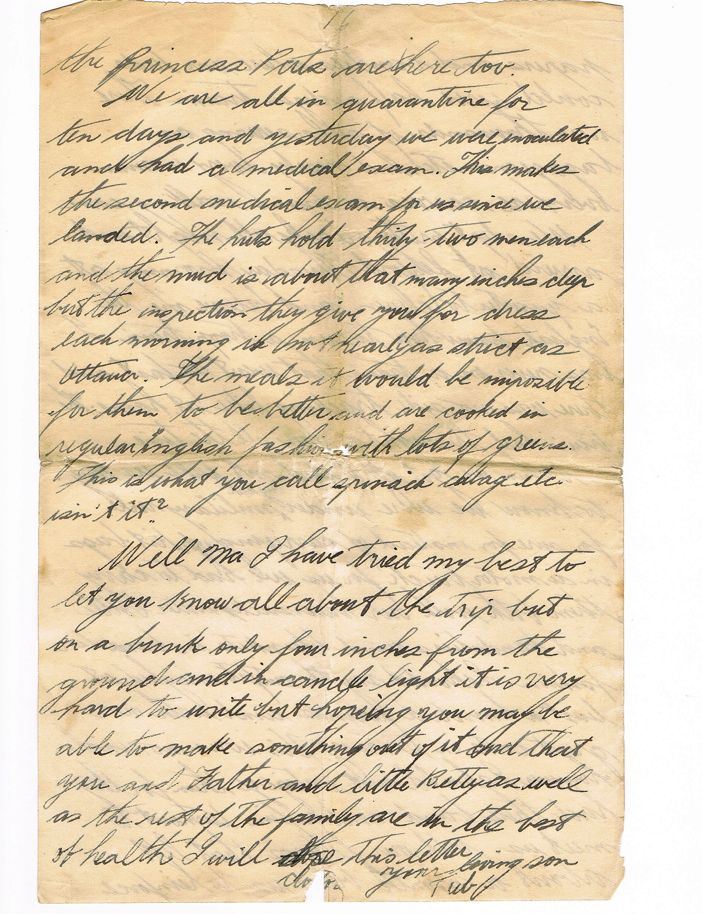 16th page of handwritten letter