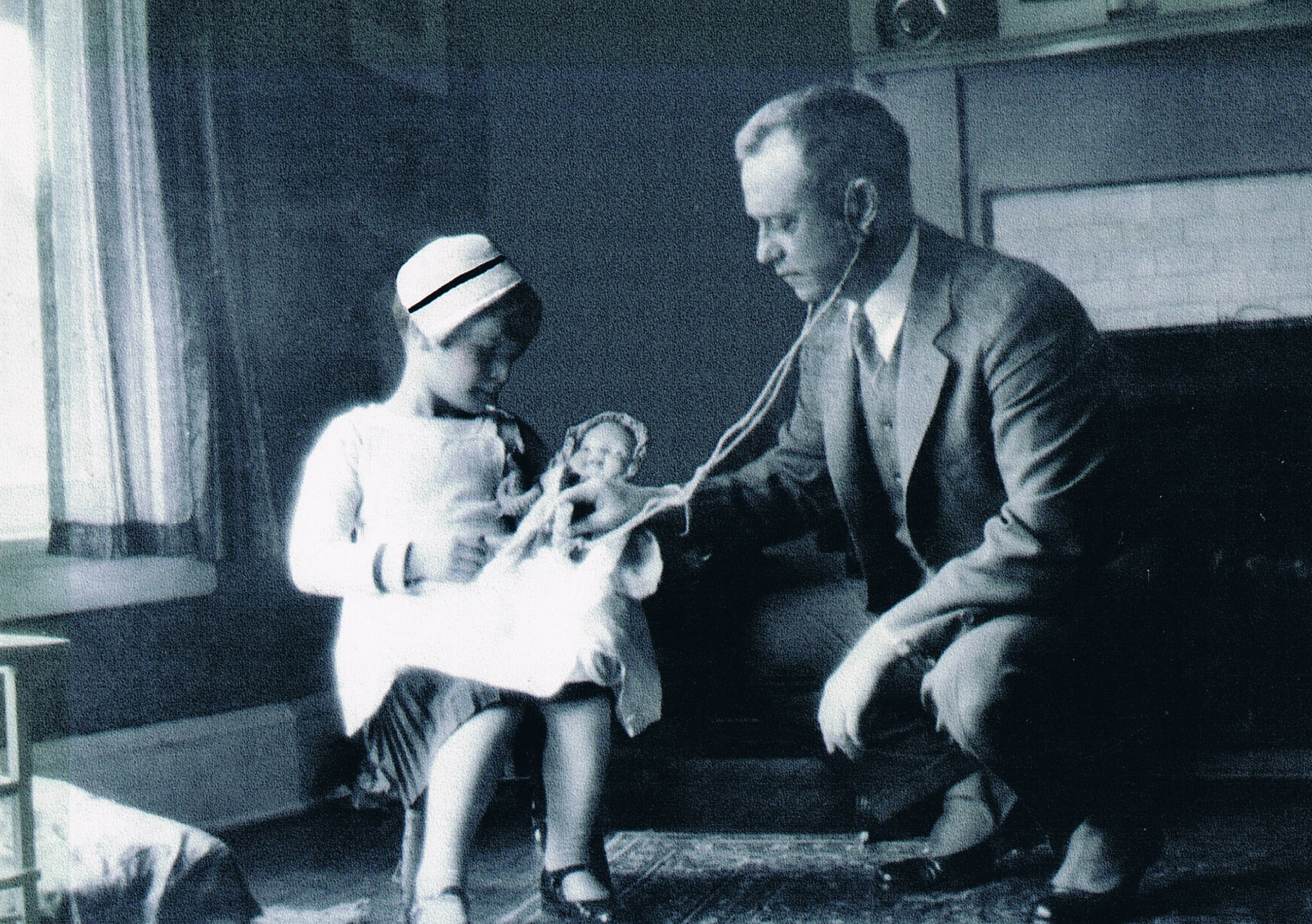 My mother's first foray into medicine - with her father in the early 1930s.