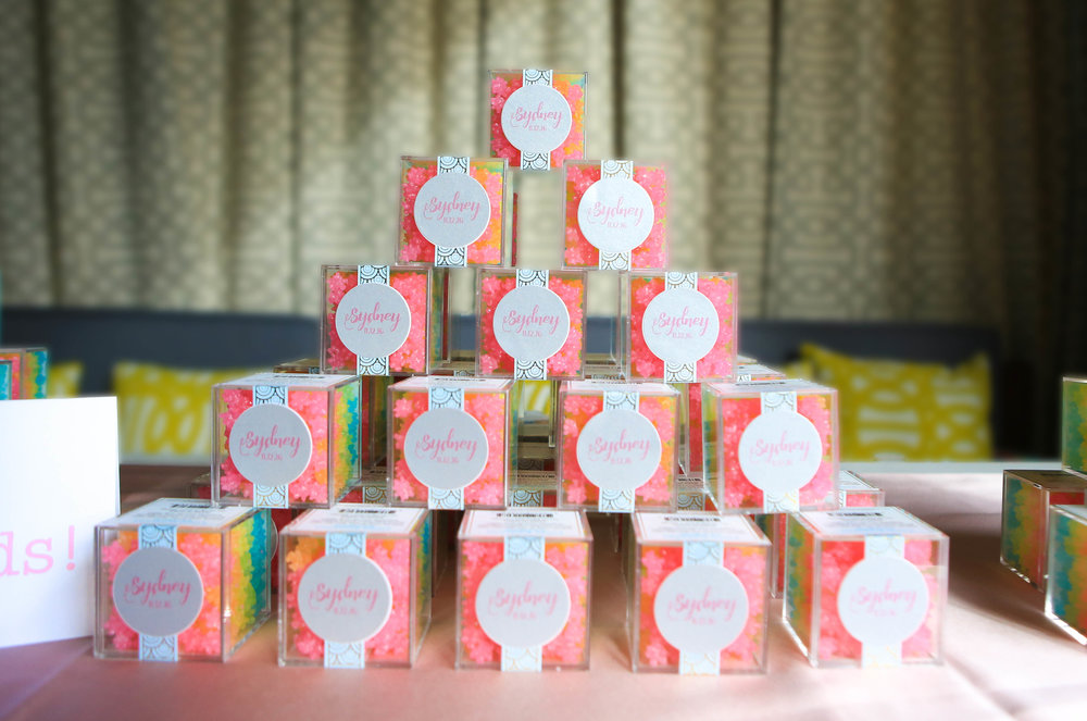 I love the way that  www.tablesetgo.com  created these Sugarfina-inspired party favors for Sydney's Bat Mitzvah.  You don't have to have a candy themed celebration to gift these fabulous favors to your guests.