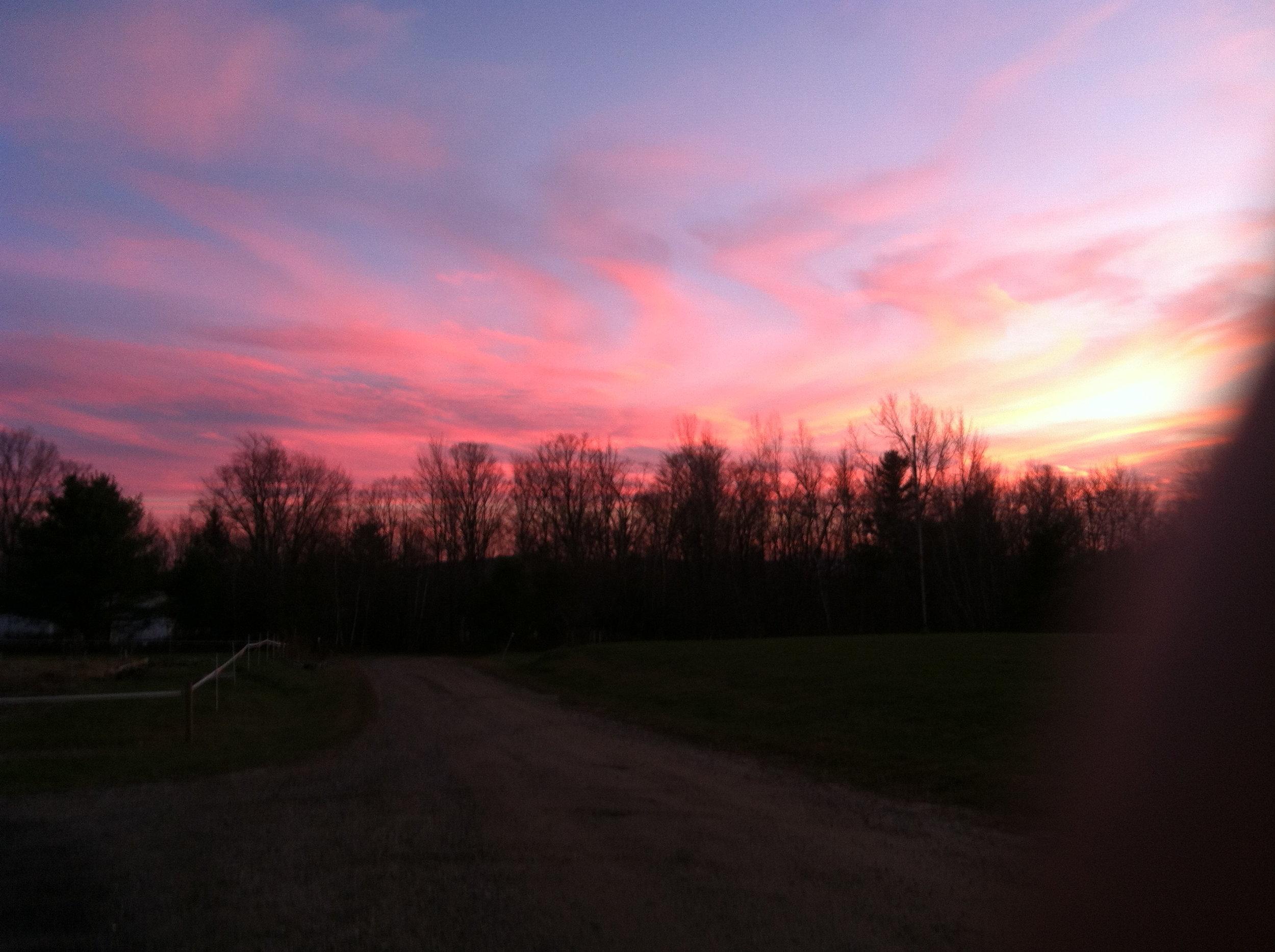 New England's beauty: a fall sunset