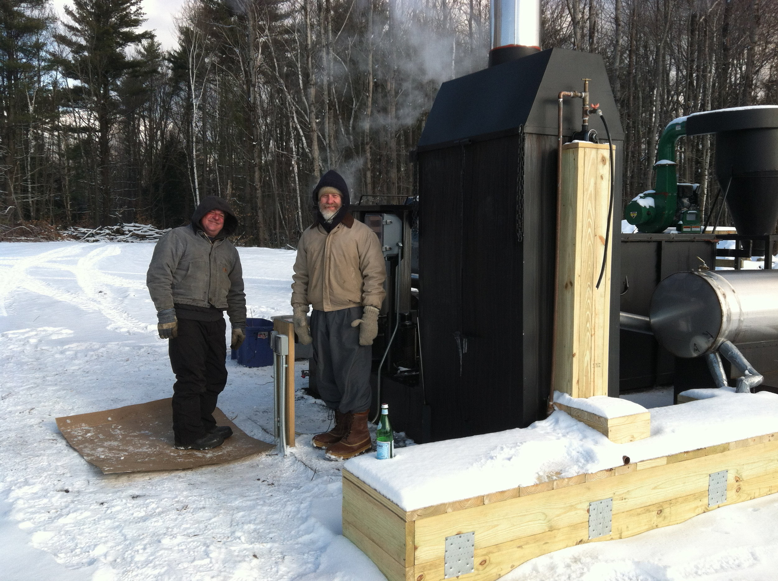 Ron and Rich on the retort (before we built our warming hut).