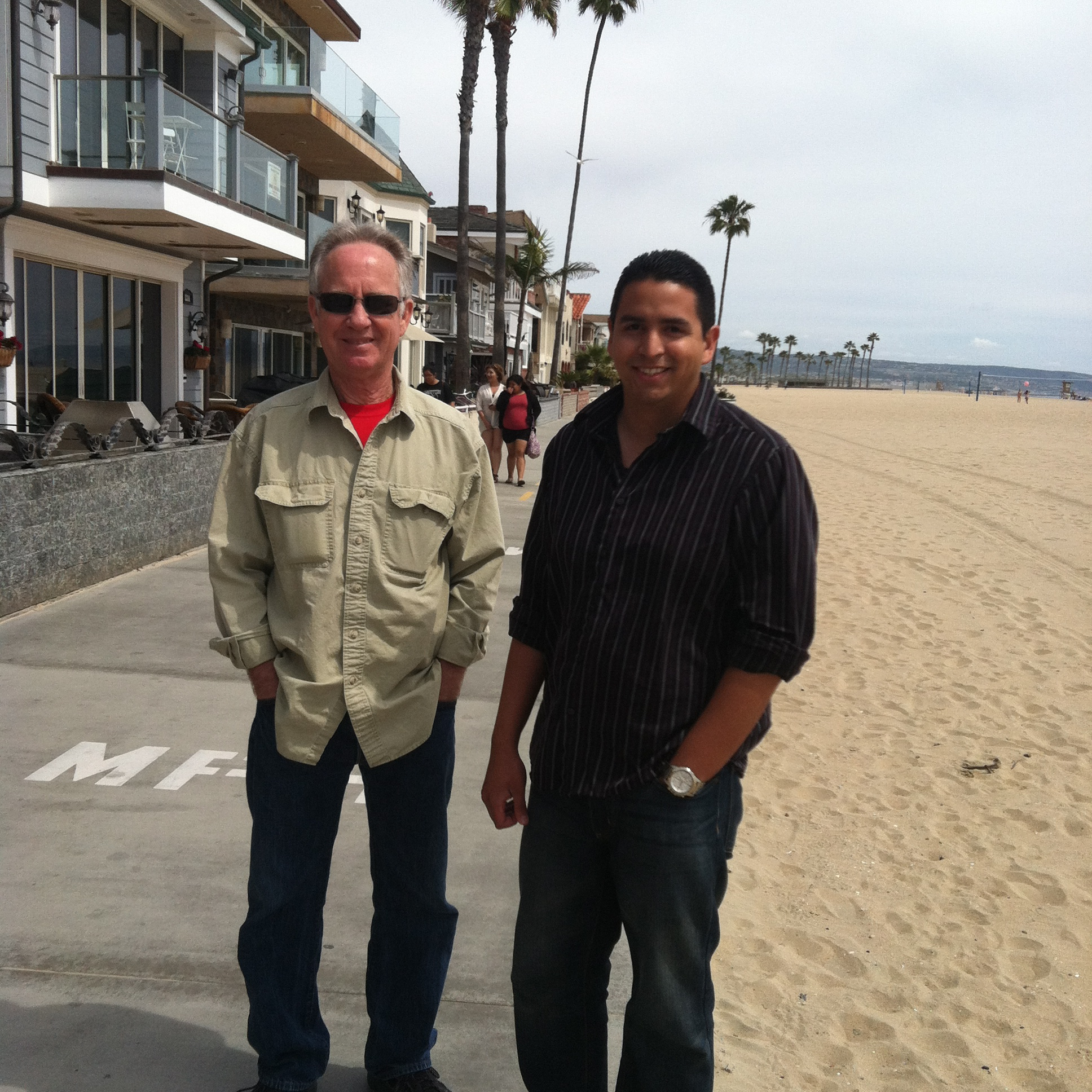 Four days later: Me (Mr. Cool) and son Daniel at Newport Beach, CA