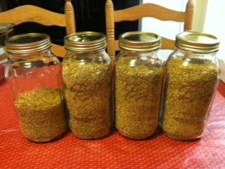 Finished product.  The jars ar 2 quarts each.  7.8 lbs. of seed is about 1 3/4 gallons.