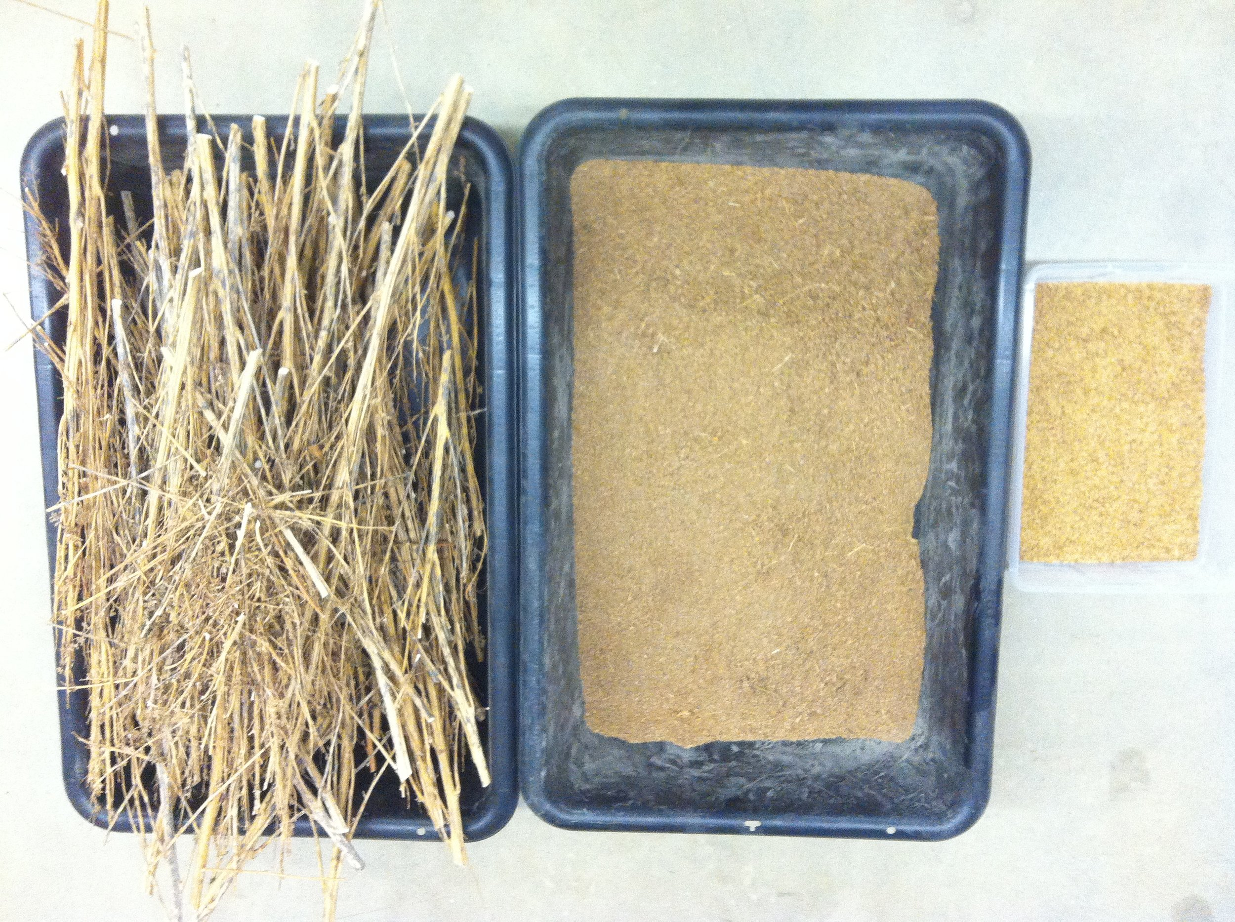 L- stalks after threshing. M- chaff after winnowing. R- seeds after winnowing.