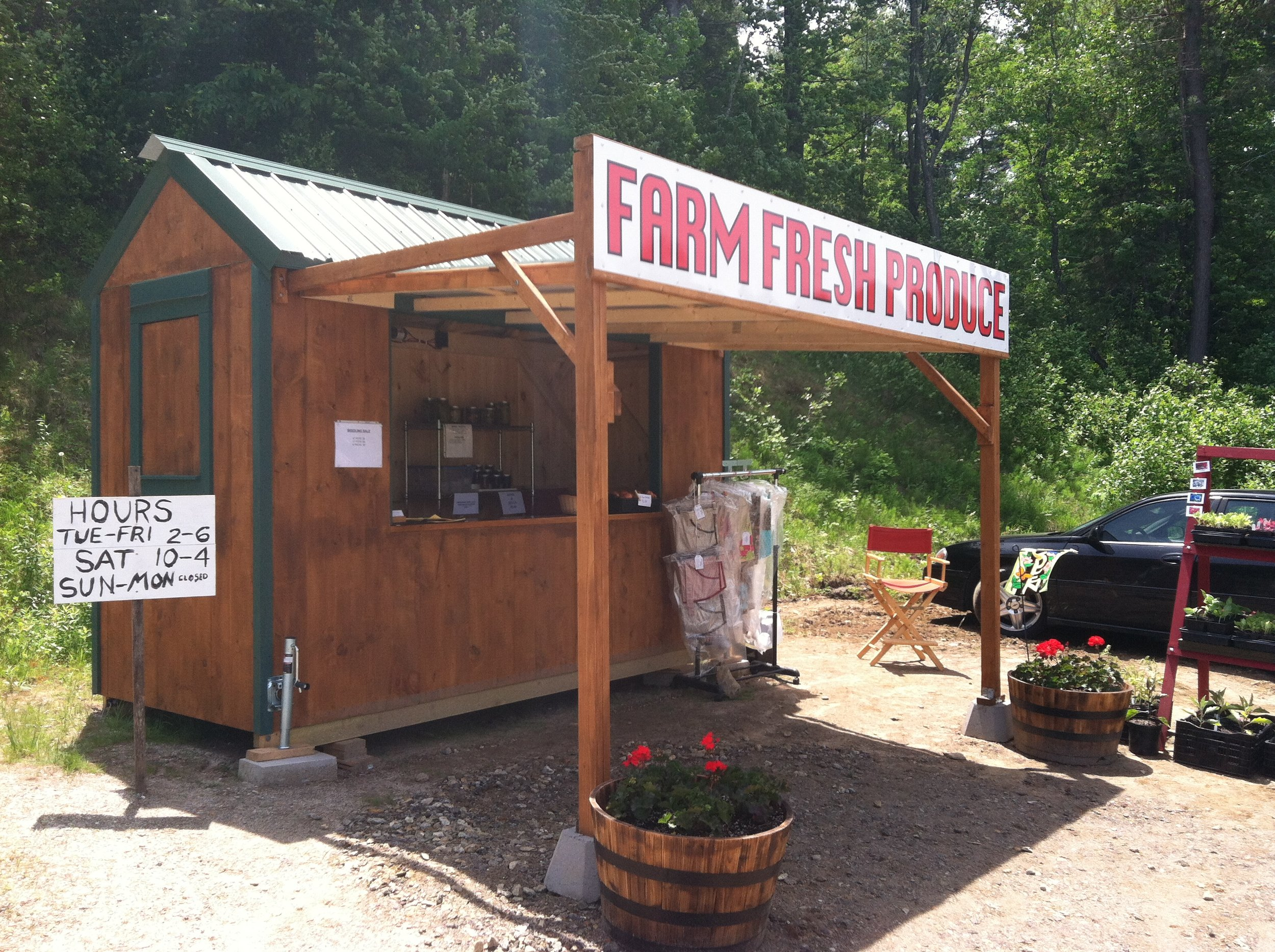 The farm stand open for business.
