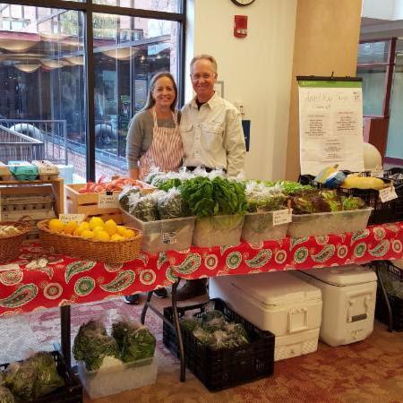 Carol and Steve at farmer's market at Cheshire Medical Center.