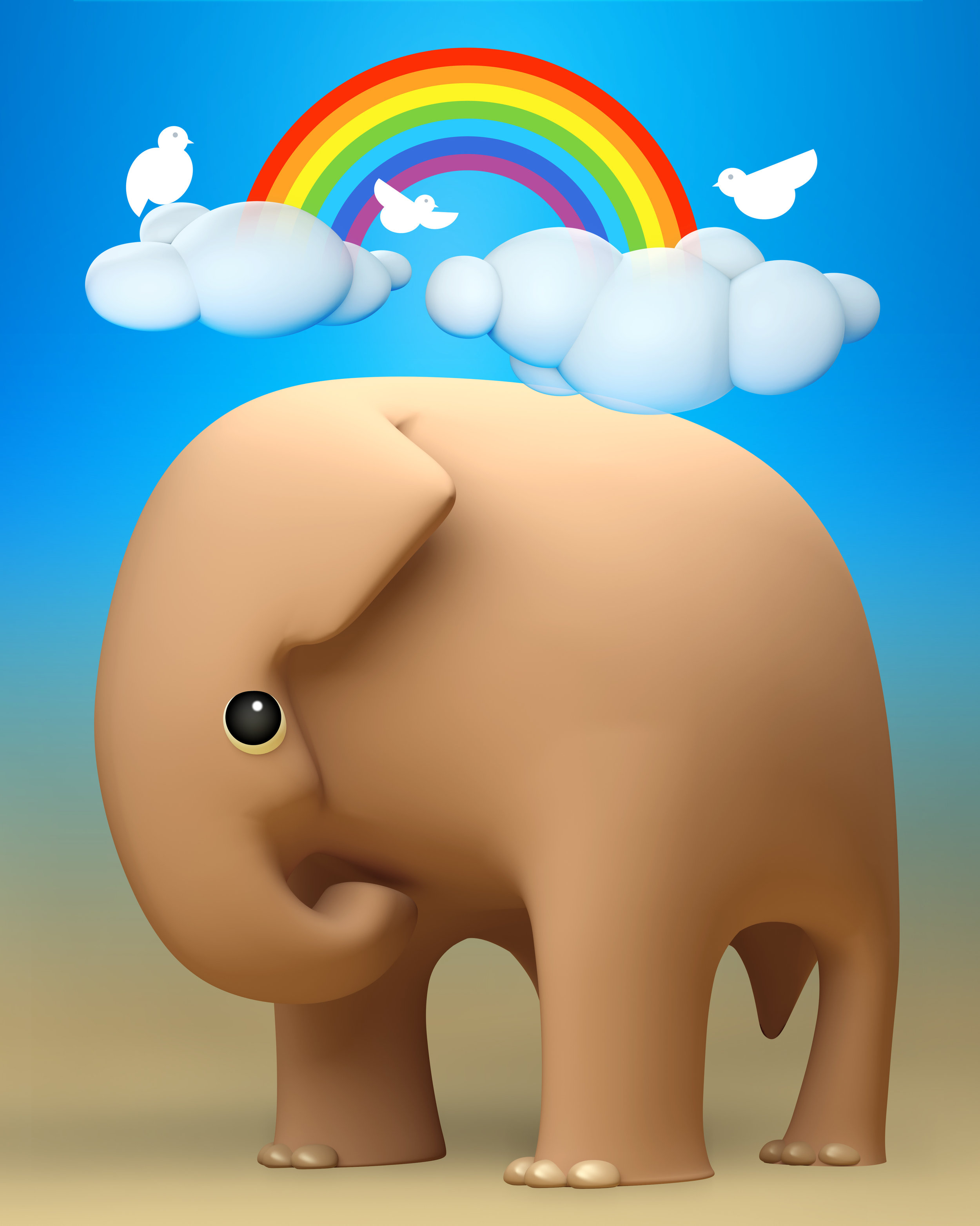 3D elephant a happy day outdoors