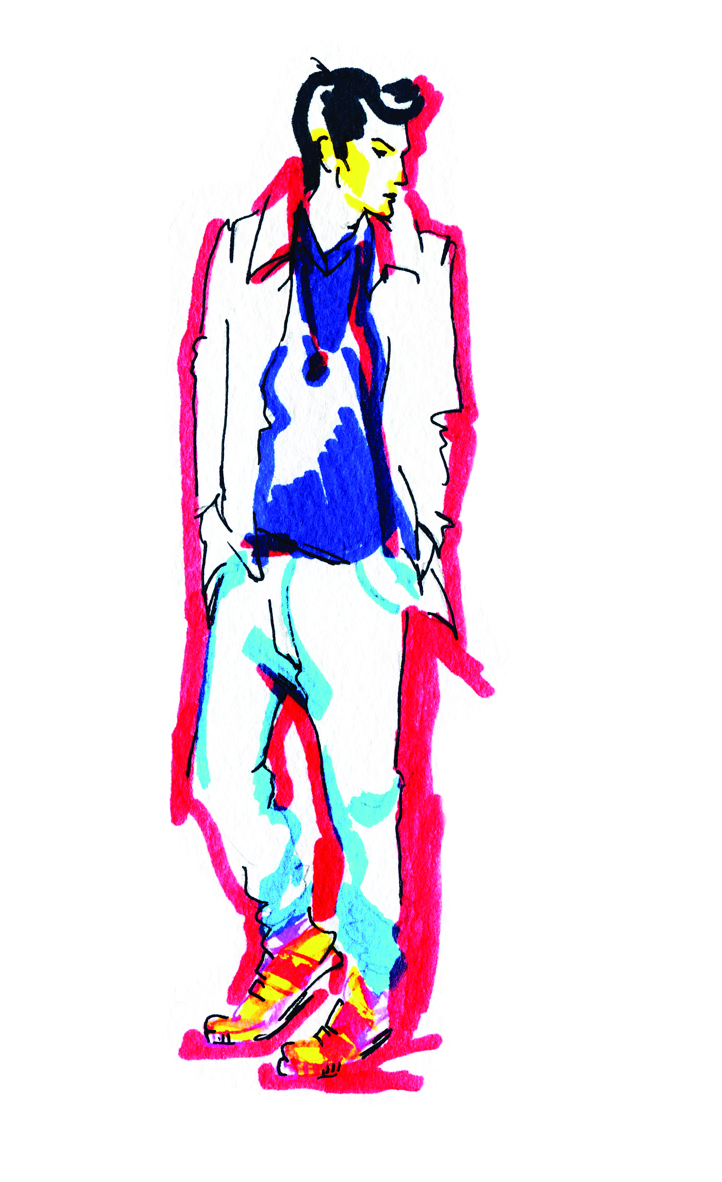 man style portrait .abstract watercolor .fashion background