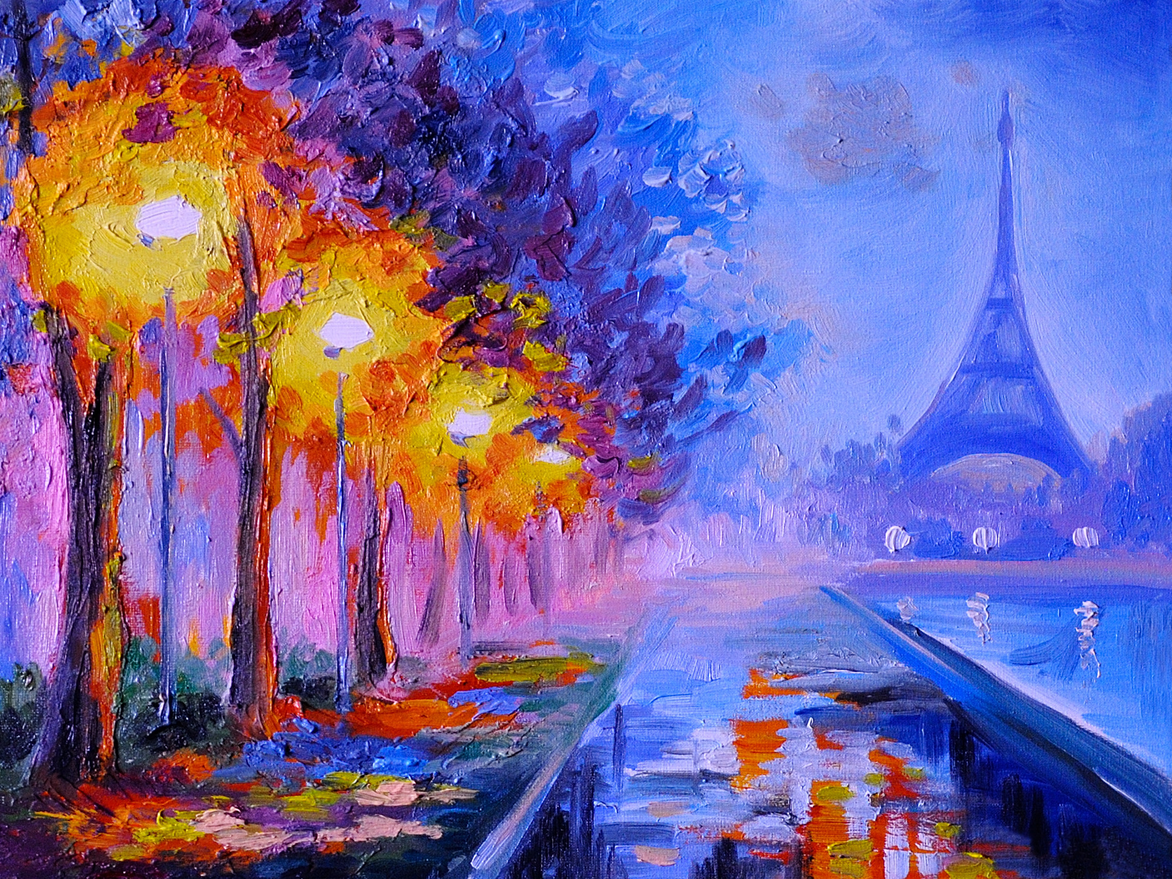 Oil painting of  eiffel tower, france, art work
