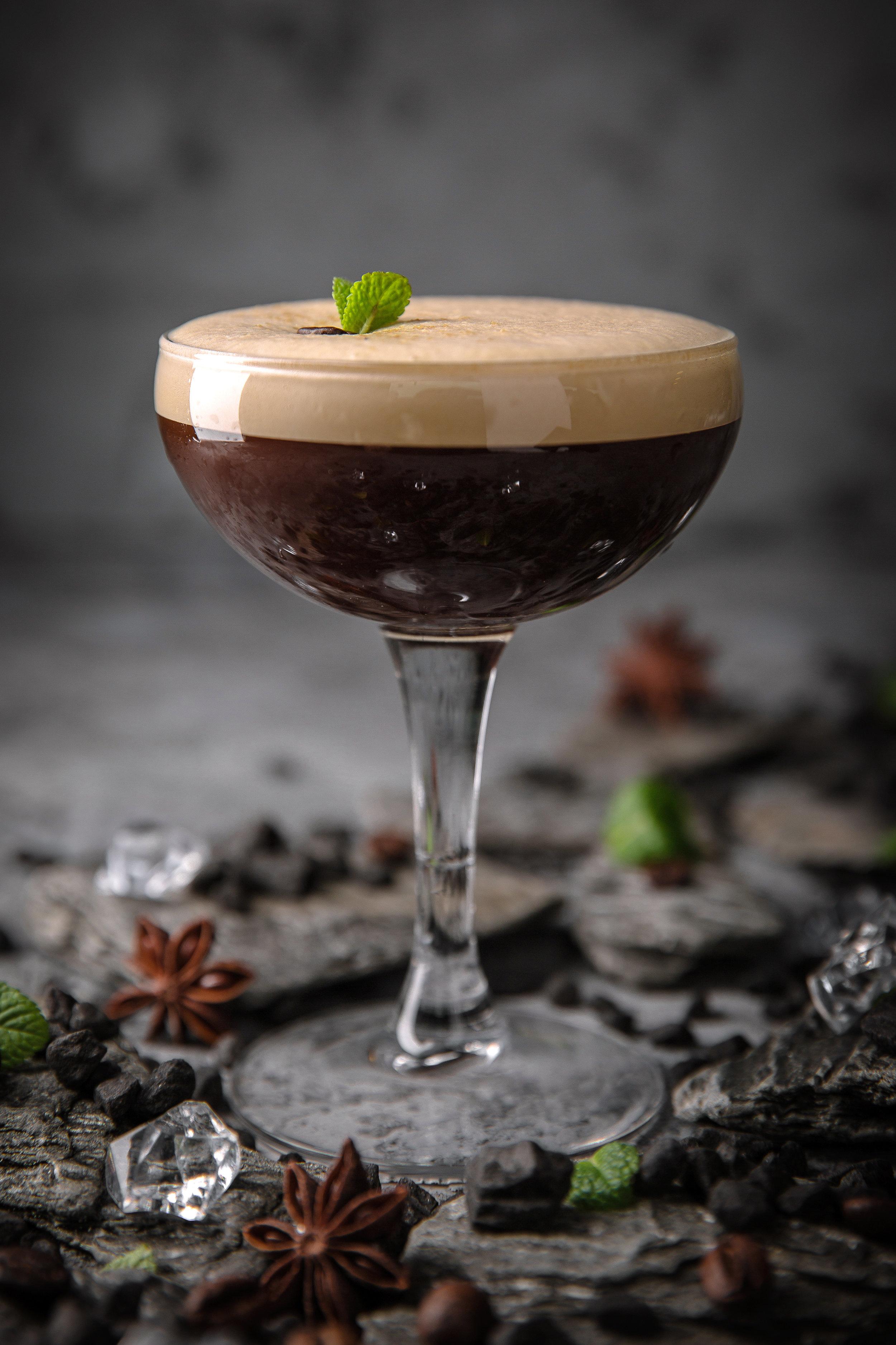 Kingdom Of Passion - 1 oz. espresso coffee, 1 oz. Lab's Old Timer's tonic syrup, ½ oz. Absente 55 Absinthe, 1 ½ oz. Tia Maria coffee liqueur, 2 oz. milk + .5 oz. vanilla liquor to cover.