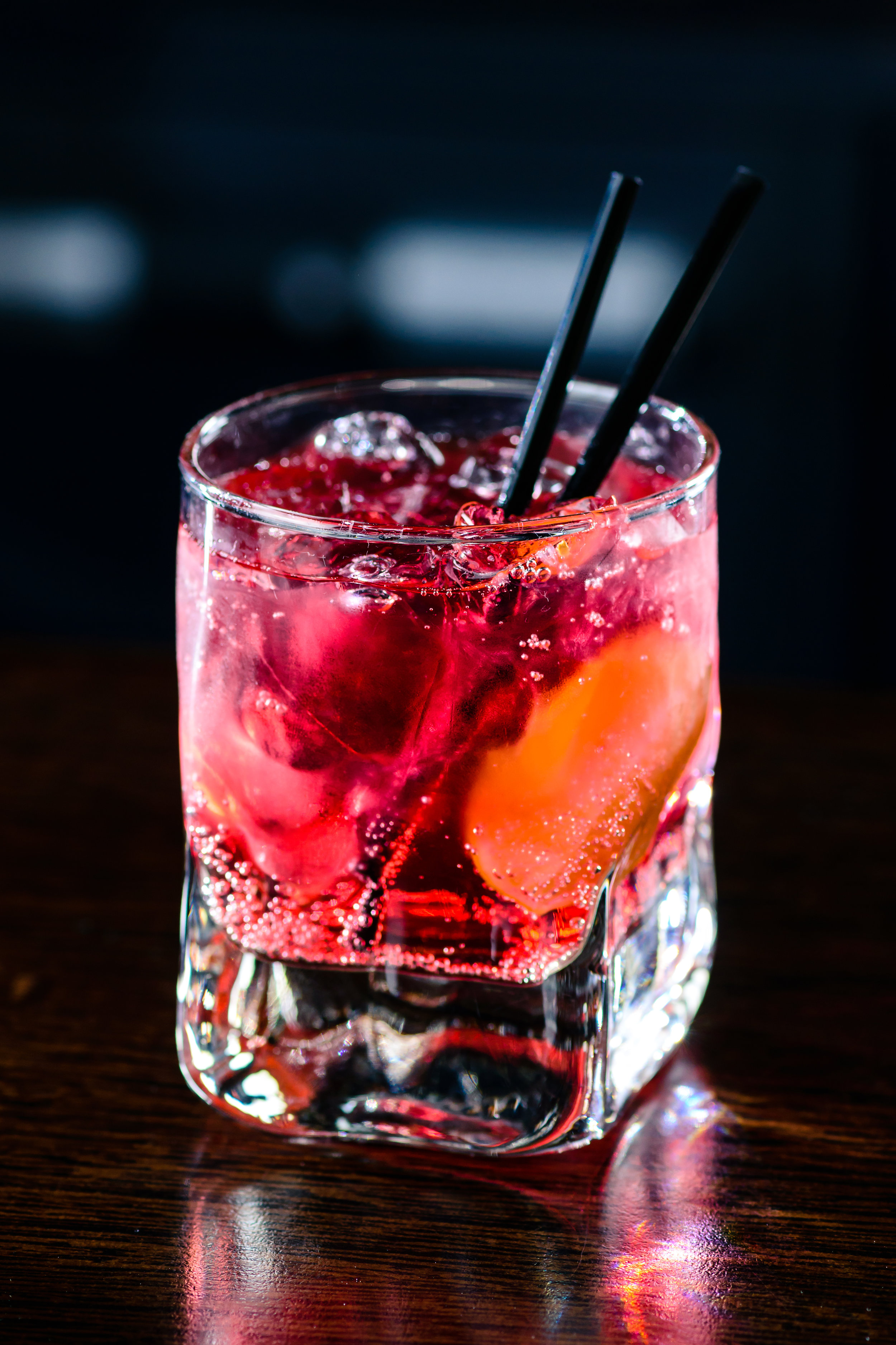 Bubbly Bouquet - 1 oz. Fords Gin, 1 oz. lemon juice, 75 oz. Aperol and   .25 Giffard's orgeat syrup.