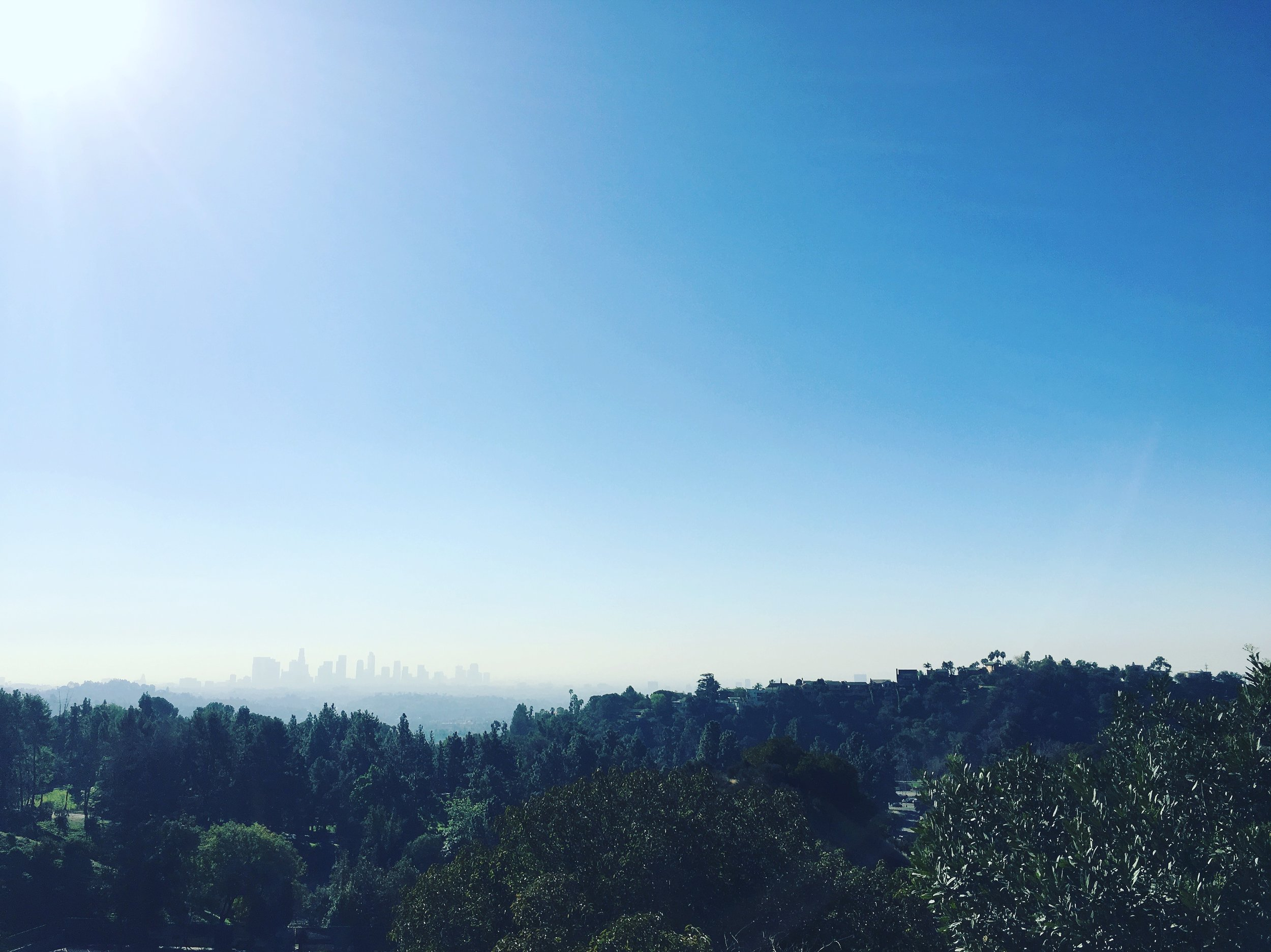 Facing downtown Los Angeles from Griffith Park.