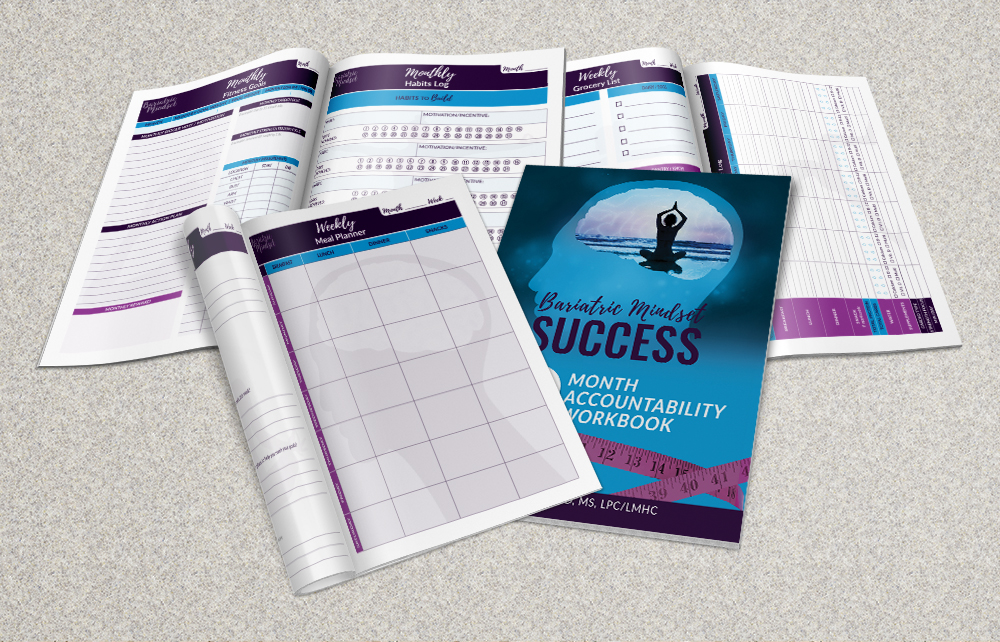 Bariatric Mindset Success:3-Month & 6-Month Accountability Workbooks - Keep your weight off after weight loss surgery. Bariatric surgery is a tool. Research has indicated that self-monitoring is one of the determining factors that helps prevent regain and help people keep their weight off long-term.  When studies show that 40% of weight loss surgery patients regain weight within five years of surgery, there has to be something that is missing. Accountability and support, in addition to mindset shifts are key. However, many of the programs that exist aren't for bariatric patients, or require a lot of excess time. This post-bariatric surgery accountability workbook was created specifically with busy individuals in mind to keep things simple, while also helping people to stay focused on their post WLS weight loss goals. Planning and preparation is one of the key ingredients to being successful after weight loss surgery and this accountability journal is your one stop shop for reaching and maintaining your weight loss surgery success! Packed with daily, weekly, and monthly exercises this accountability journal aims to put everything you need in one place so you can plan and track effortlessly, so implementation is easy and habit changes occur naturally. This workbook is also designed to guide you to your personal growth beyond the weight as well. While the weight loss may be one of your biggest goals, the ultimate goal is to live your best life after bariatric surgery.  Whether you've had lap band, gastric bypass, or the gastric sleeve procedure, this workbook will help you stay on track with your post-surgical plan. The Bariatric Mindset Success 3-month and 6-month Accountability Workbook includes:* Monthly Food and Fitness Goal Worksheets * Monthly/weekly intentions for success worksheets* Build new healthy habits worksheet * Break old bad habits worksheet * Weekly meal planning and grocery shopping worksheets * Worksheets to track your daily food, exercise, supplements and water intake * Worksheets to help you practice self-awareness * Tracking sheets to celebrate your successes The Bariatric Mindset Success 3-Month and 6-Month Accountability Workbooks are your complete guide to mindset shifts and lifestyle changes after bariatric surgery.AVAILABLE ON AMAZON!!