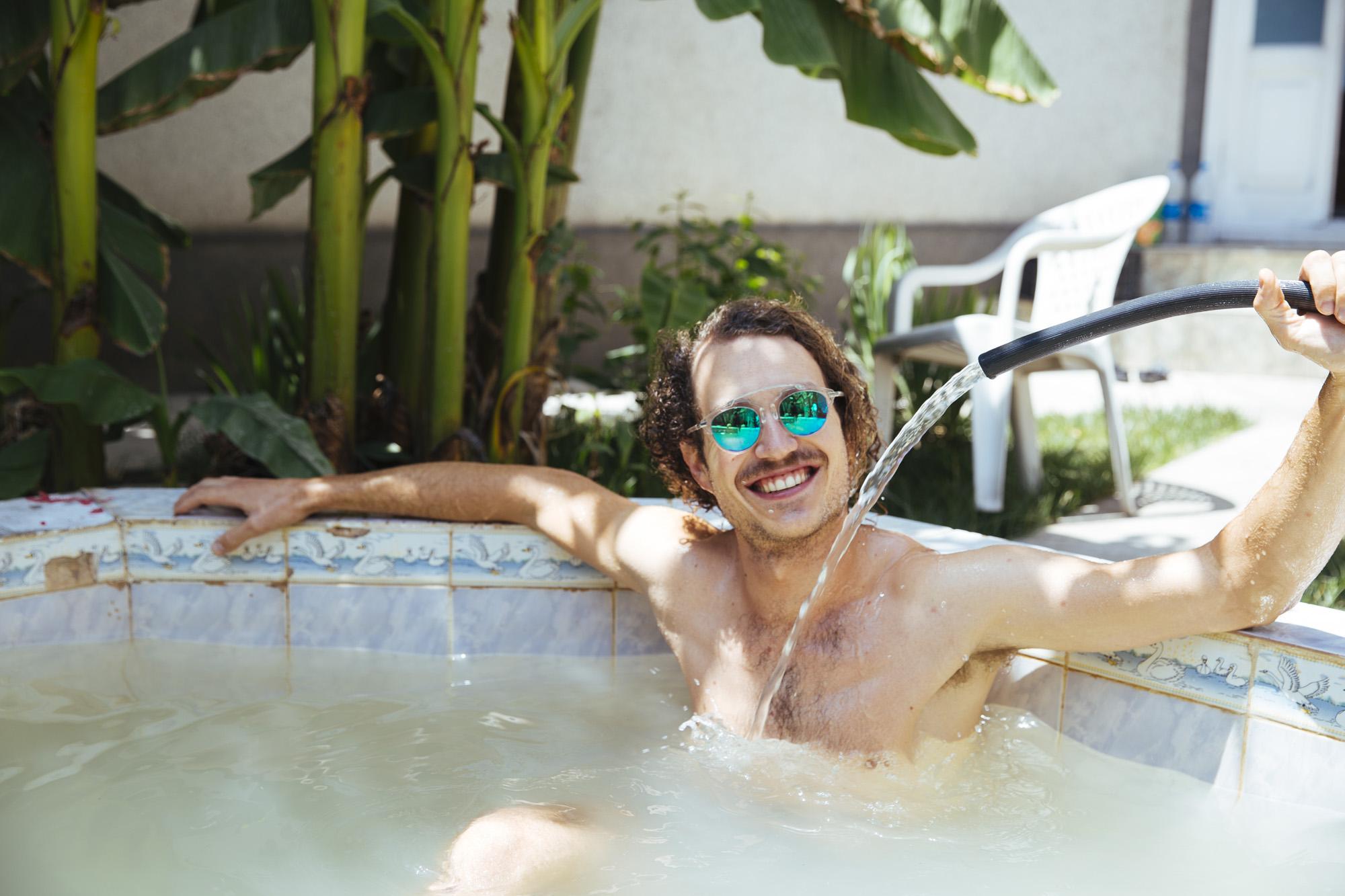 "One of my hosts enjoying the ""pool"""