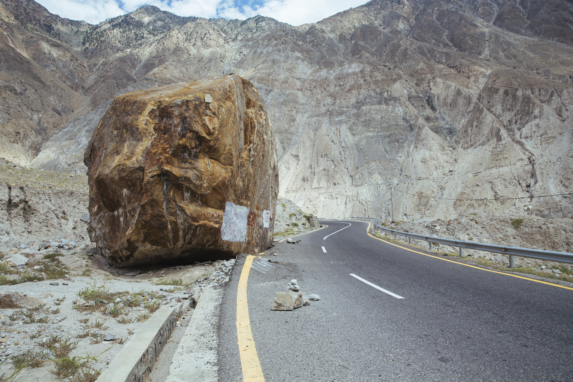 One of the bigger rocks that had fallen onto the street