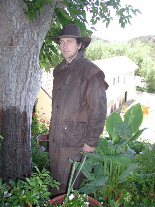 OILSKIN COATS KEEP YOU WARM AND DRY. THEY GO OVER YOUR SADDLE AND TRAP THE HEAT OF THE HORSE. Price: $99