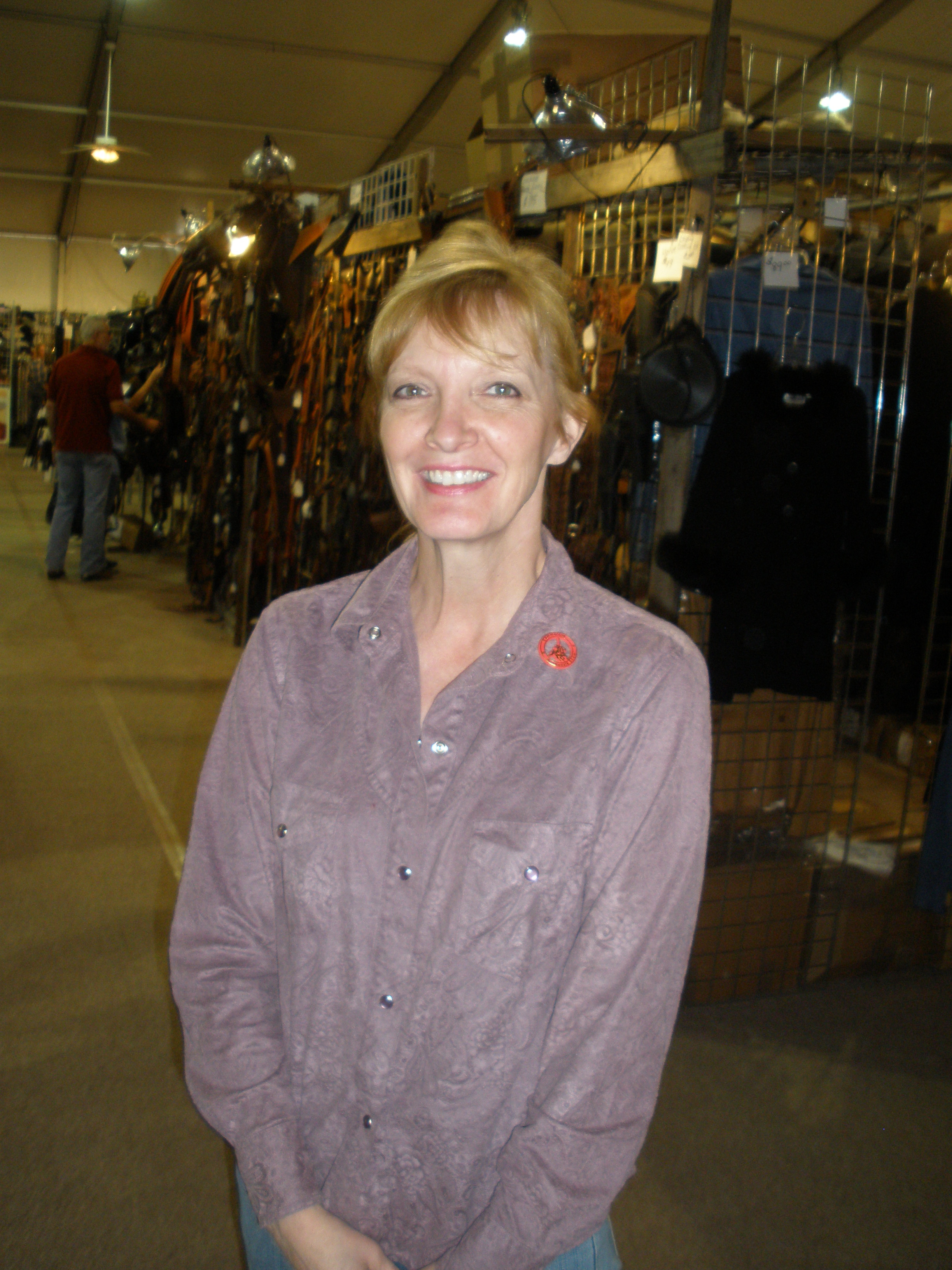 Linda Fox-Dangaard at The Australian Stock Saddle Company Equine Expo booth