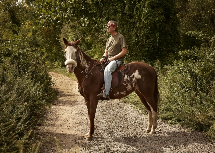 Ron Goodmark and Tucson on a country path