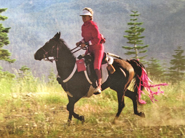 Karen conquering on Rapunzaal in the 1994 Tevis Cup