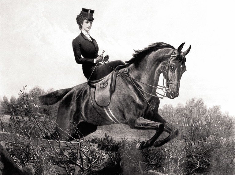 Elizabeth of Austria clearing a fence side-saddle