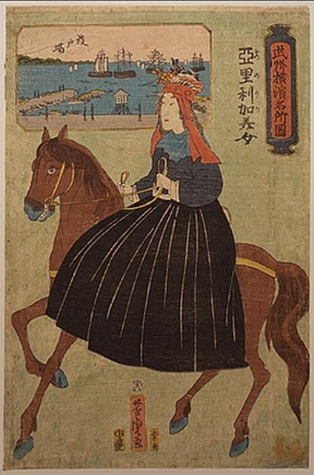 Portrait of a European woman riding side saddle in Japan on a rather saucy horse