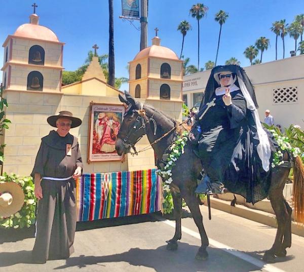 Pat Fish riding in the 2018 Fiesta Parade in Santa Barbara