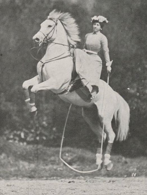 Therese Renz (1859-1938), of the Renz circus family of Berlin riding sidesaddle.