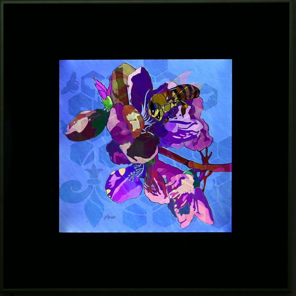 """Bee & Blossom, 20""""x20"""" framed"""