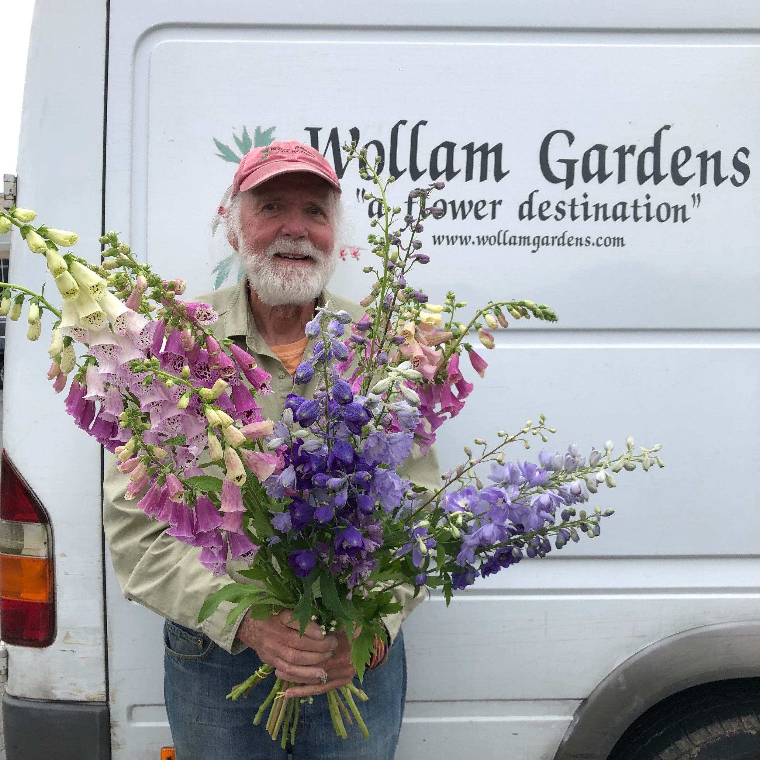 """Bob Wollam - The owner of Wollam Gardens, Bob has been growing cut flowers since 1988. Since then, he has devoted his time to growing local, sustainably harvested flowers on Wollam Gardens' 11 acres. His efforts have helped to promote the importance of local flowers in the larger """"locavore"""" movement. As most cut flowers are trucked and shipped hundreds and thousands of miles before they even reach the customer, Wollam Gardens' Virginia-grown flowers serve as a model for what a modern, environmentally conscious flower business can look like. Bob splits his time between Wollam Gardens and Washington, DC, where he's resided for 28 years as a community activist, husband, and father."""