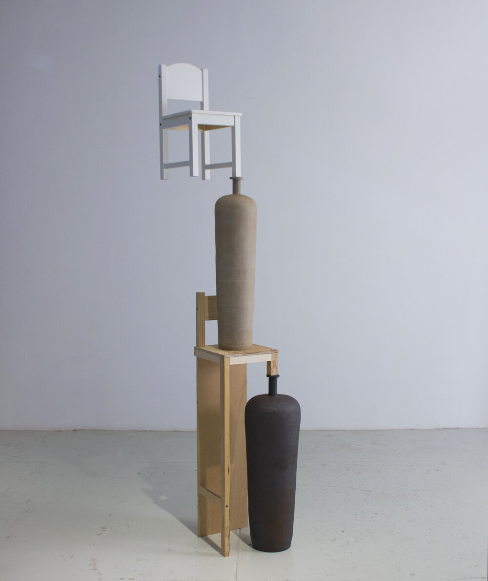 "Ceramic, Wood  2019 - Height  7'6"""