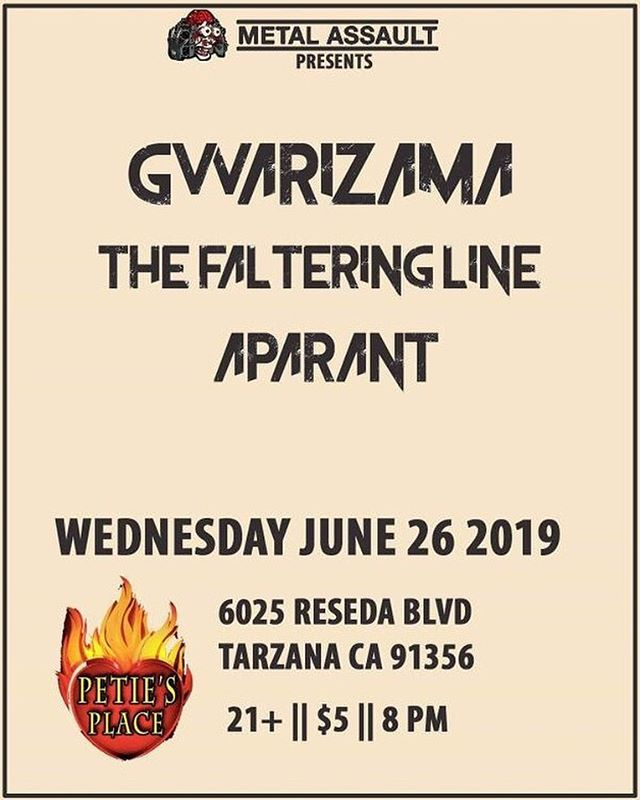 Come celebrate Hump Day with us as we open for @gwarizama_hateonehate and @thefalteringline at @petiesplace at 8pm 🎉 Thanks @metalassault for having us again🤘