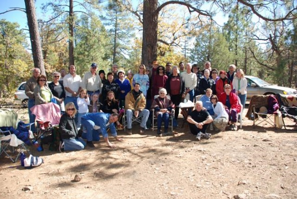 Erma with friends and students at a gathering on Arizona's Mogollon Rim in June 2010.