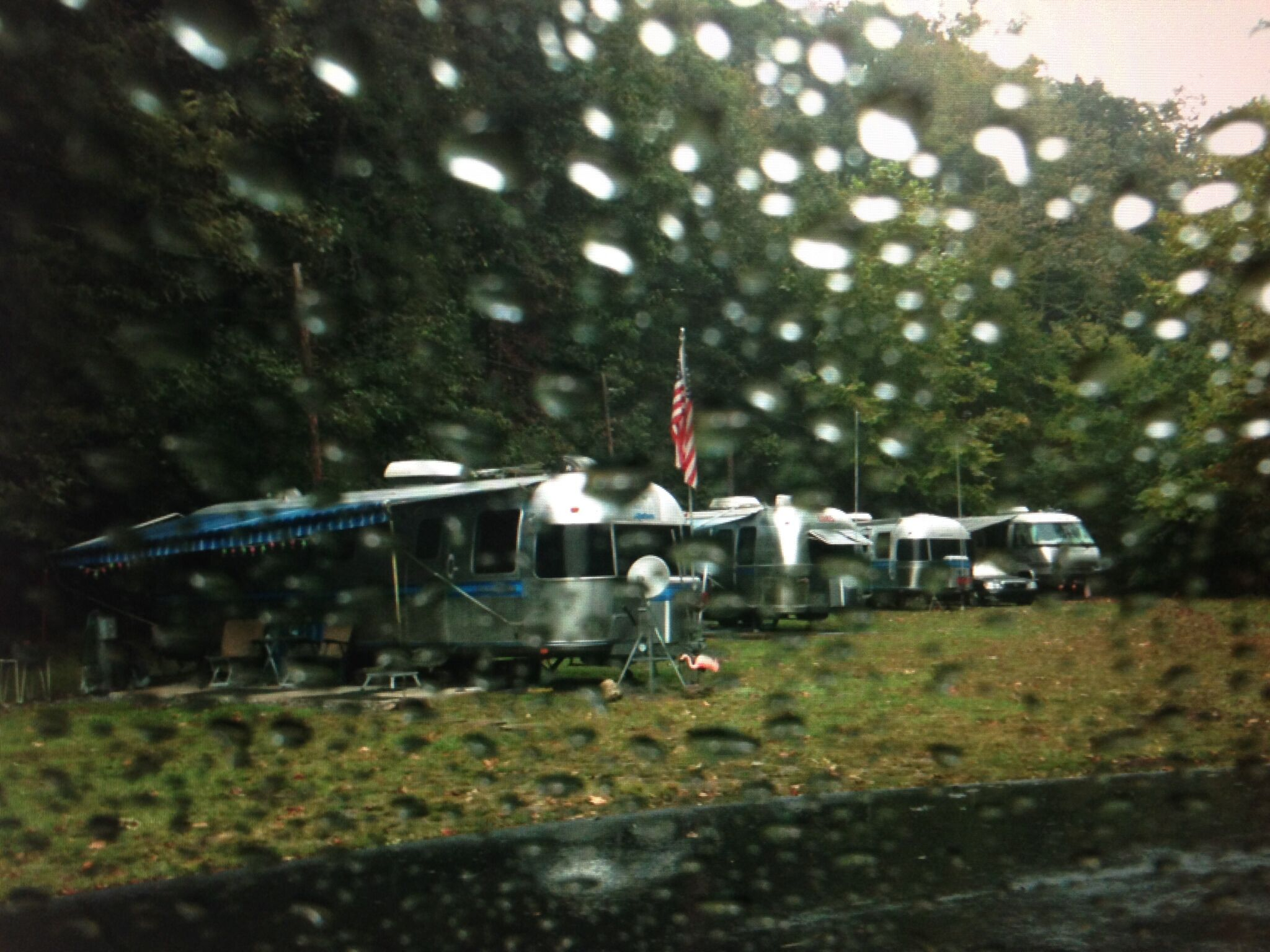 silver caravan in the rain .. north carolina