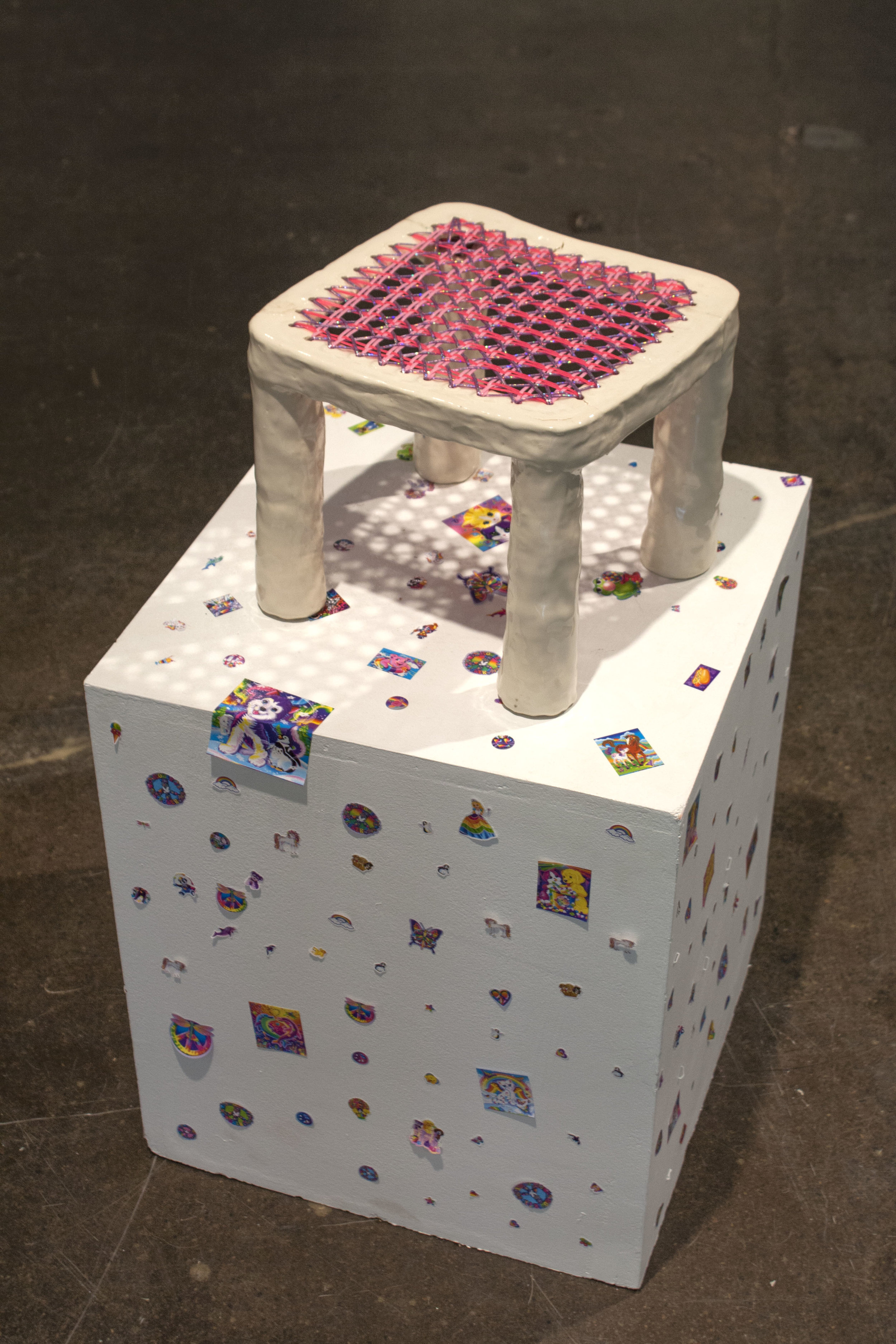 "Stool 1 (Lisa Frank), Ceramic sculpture, palstic lacing cord, 10"" x 10"" x 10"", 2018"