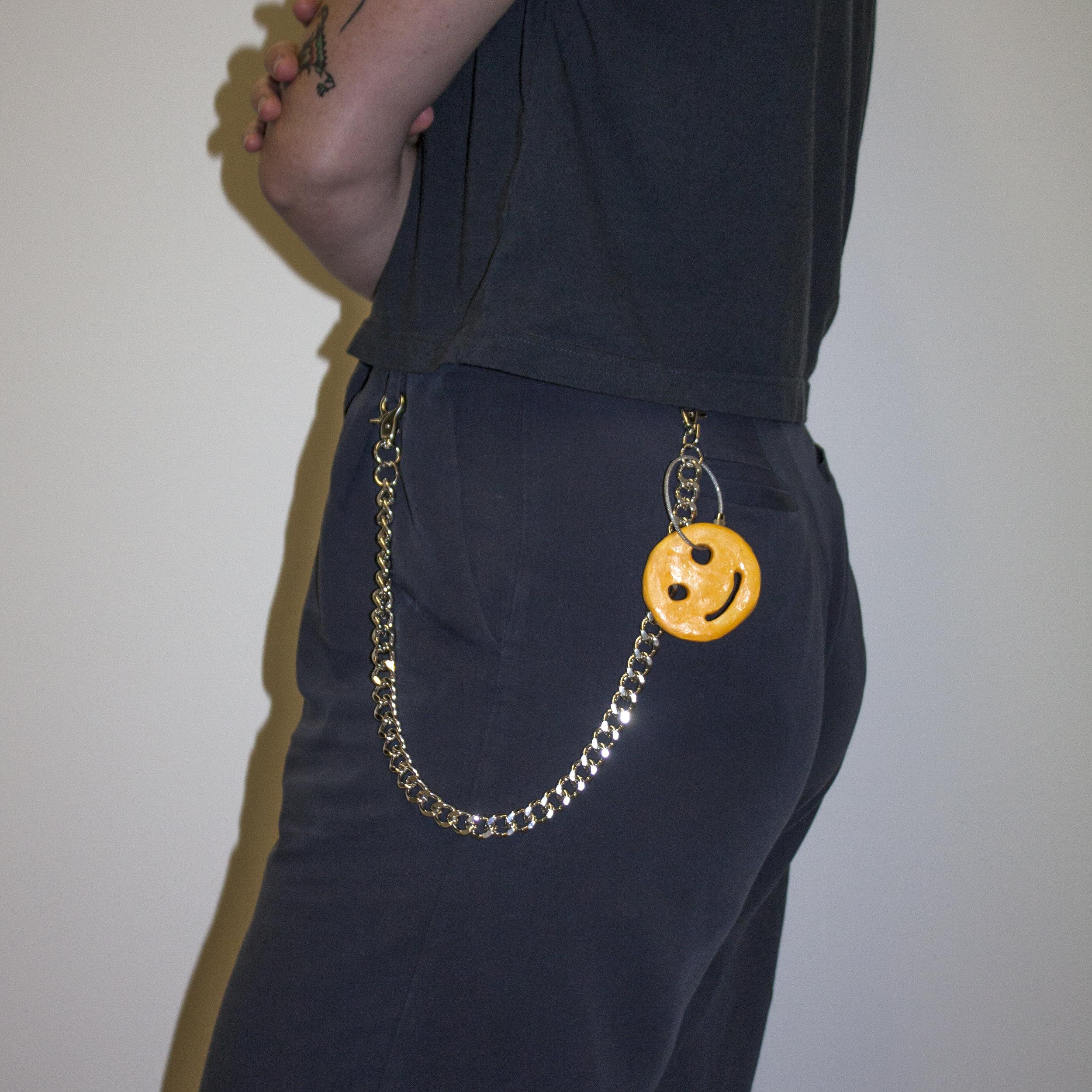 McCain Smile Keychain, Ceramic charm, metal hip chain, 2018