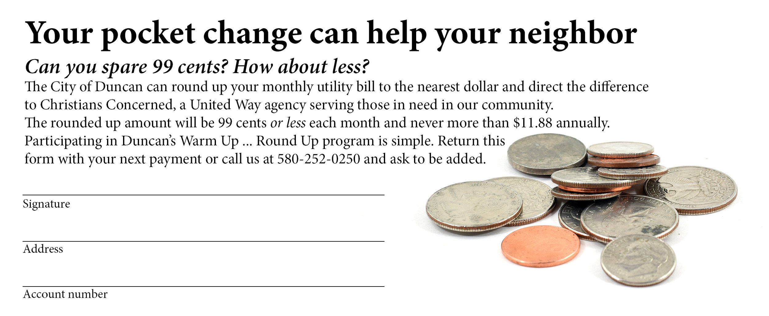 Look for this flyer in your City of Duncan utility bill or call 580-252-0250 to sign up!