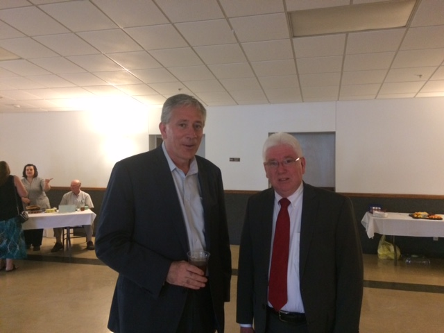 Mark and Jeff King (old high school buddy who served in the military for many years) attended the Ripley County Lincoln Day Dinner in Batesville, Indiana. Mark is pictured here with Mayor Mike Bettice as they talked about hospital beds at Hill Rom and caskets at Batesville Casket Company.