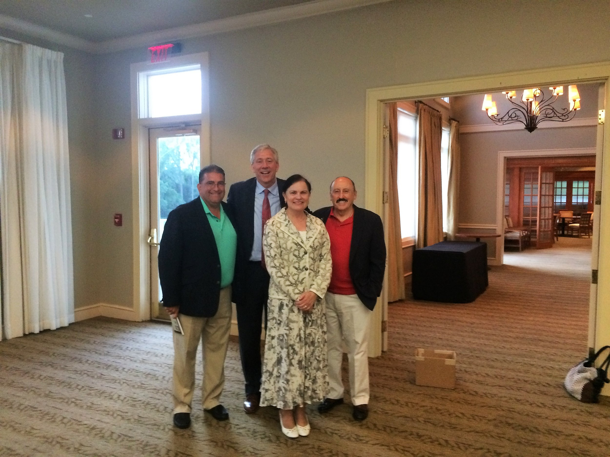 Jim and Kelly Ratliff hosted a very fun reception at the Hawthorns Golf and Country Club in Fishers. Jim is on the left in this picture -- we missed Kelly who had to hurry off to help the kids. We know how that goes. Getting to know lots of great people brings joy to this campaign.