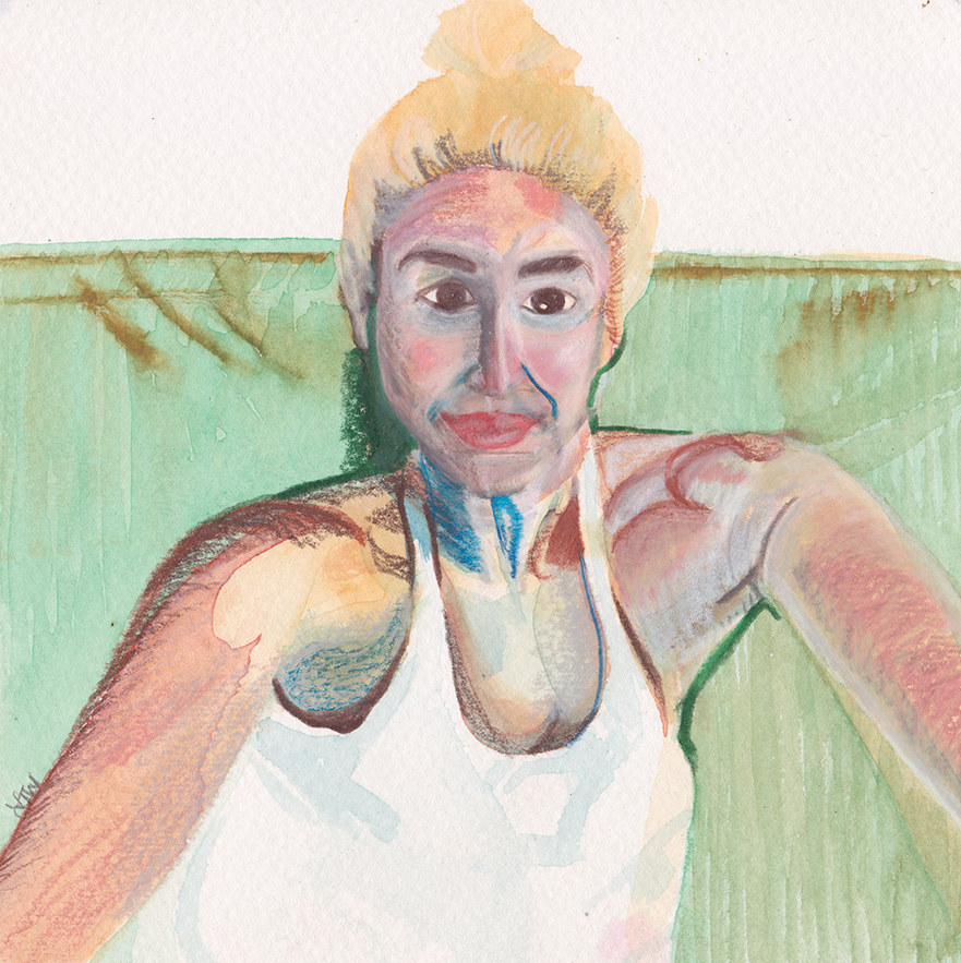 Summer 2015 Self Portrait  Japanese Watercolor and Prismacolor on Paper  July 2015  6 inches by 6 inches