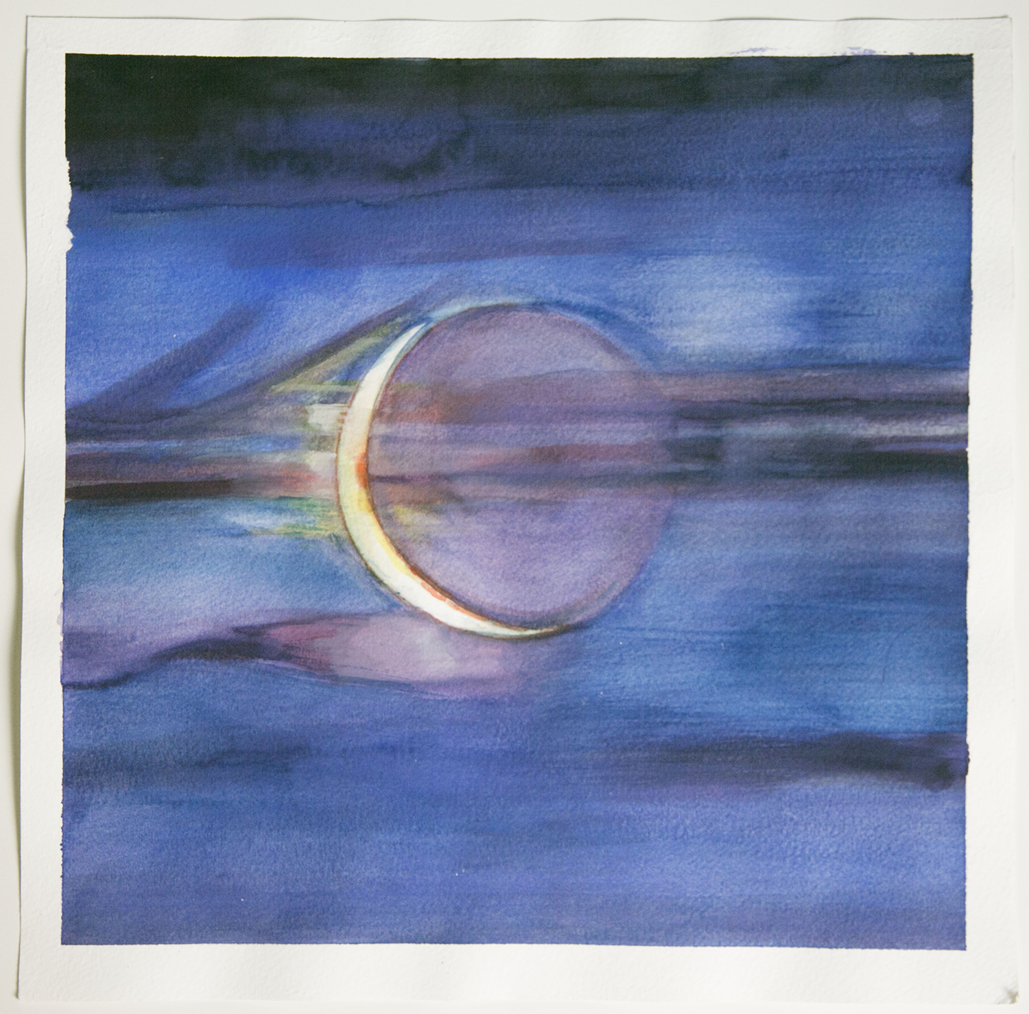 Crescent Moon  Japanese Watercolor on Paper  March 2015  10 inches by 10 inches