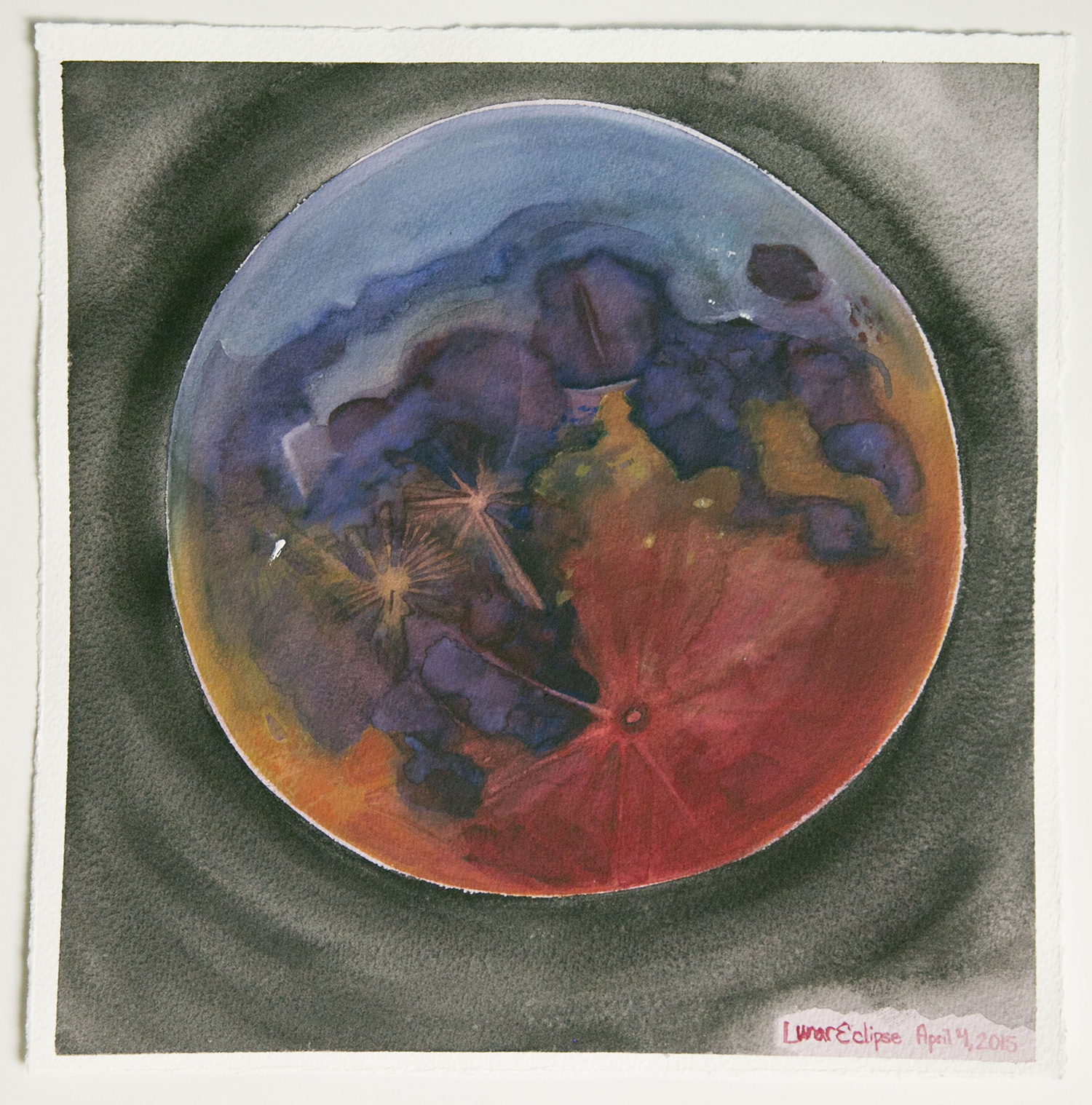 SF Lunar Eclipse April 4, 2015 (Lunar Eclipse from SF)  Japanese Watercolor on Paper  April 2015  10 inches by 10 inches
