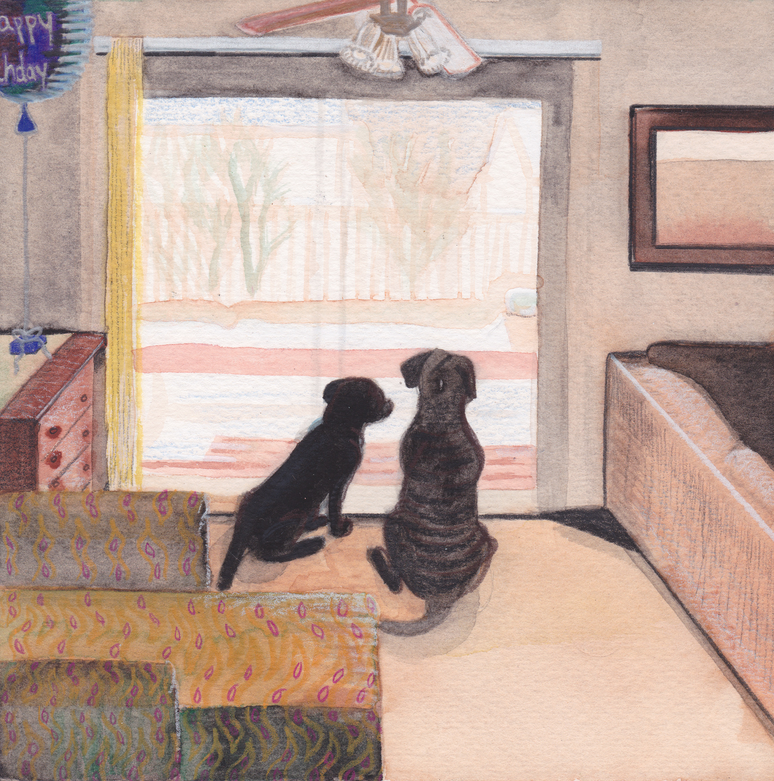 Untitled (Calm Winter in the Living Room)  Japanese Watercolor and Prismacolor on Paper  August 2015   6 inches by 6 inches