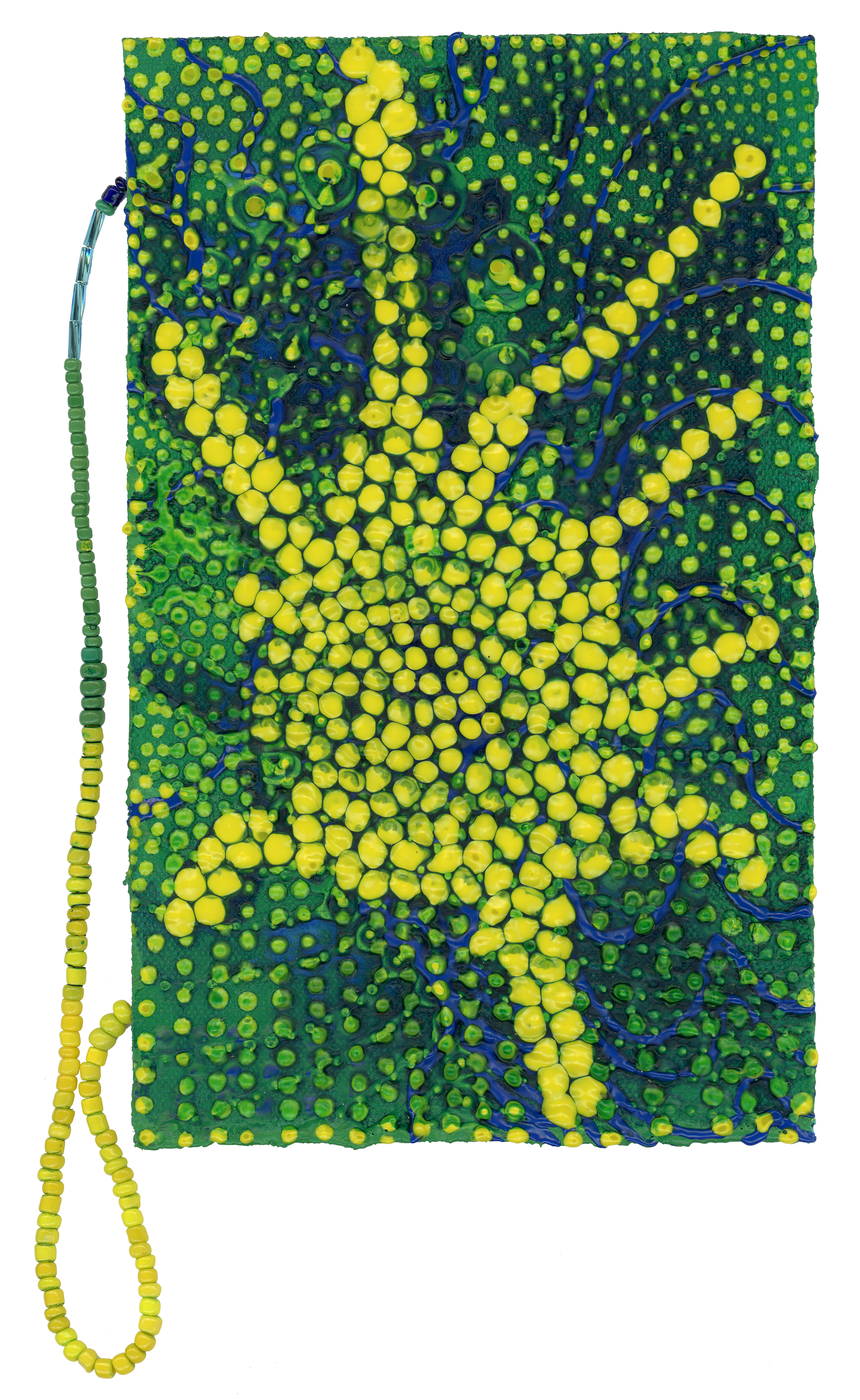 Molecular (Growth Pattern)  Acrylic and glass beads on canvas  January 2017  5 inches by 9 inches